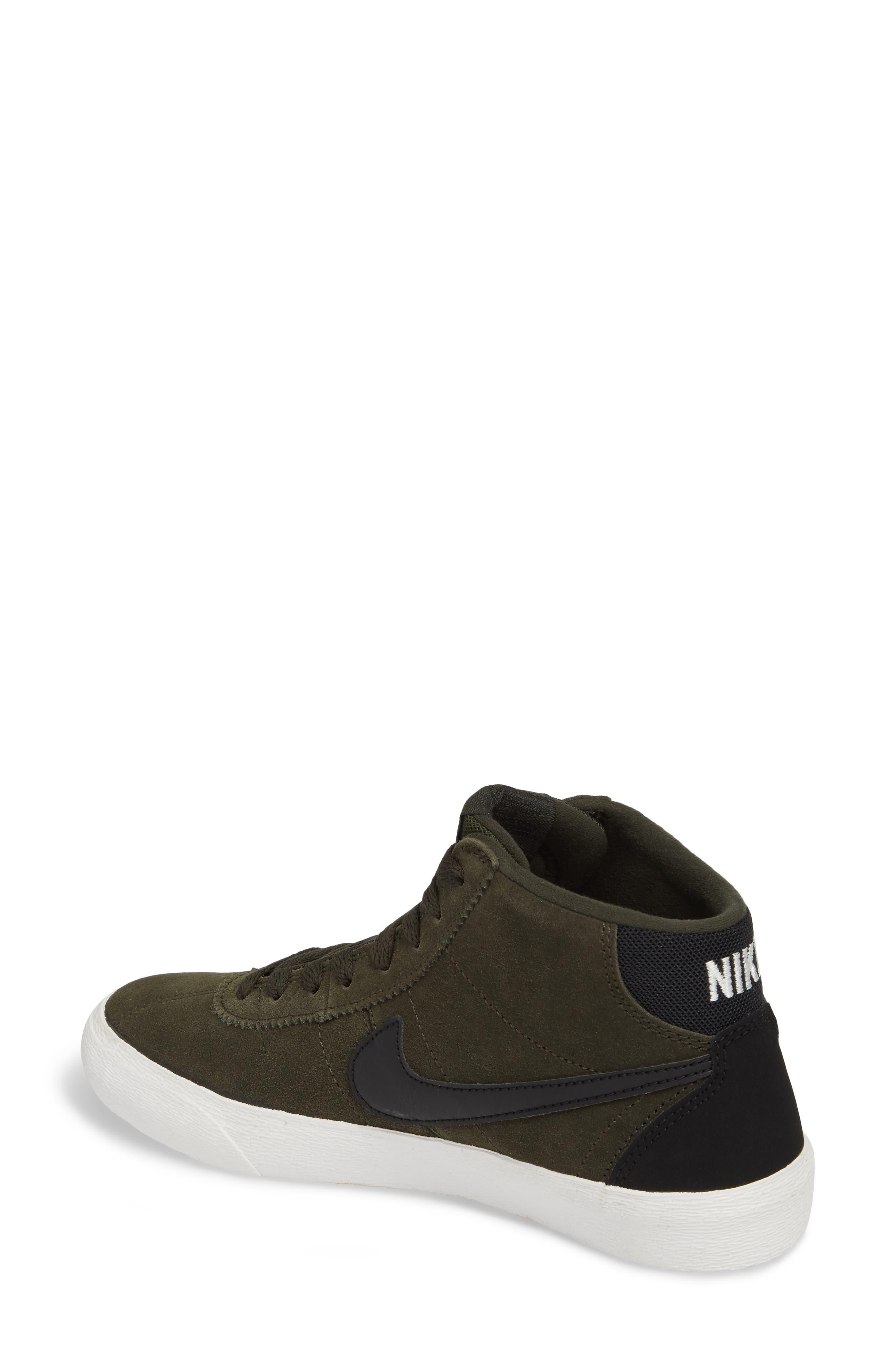 SB Bruin Hi Skateboarding Sneaker,                             Alternate thumbnail 2, color,                             Sequoia/ Black/ Summit White