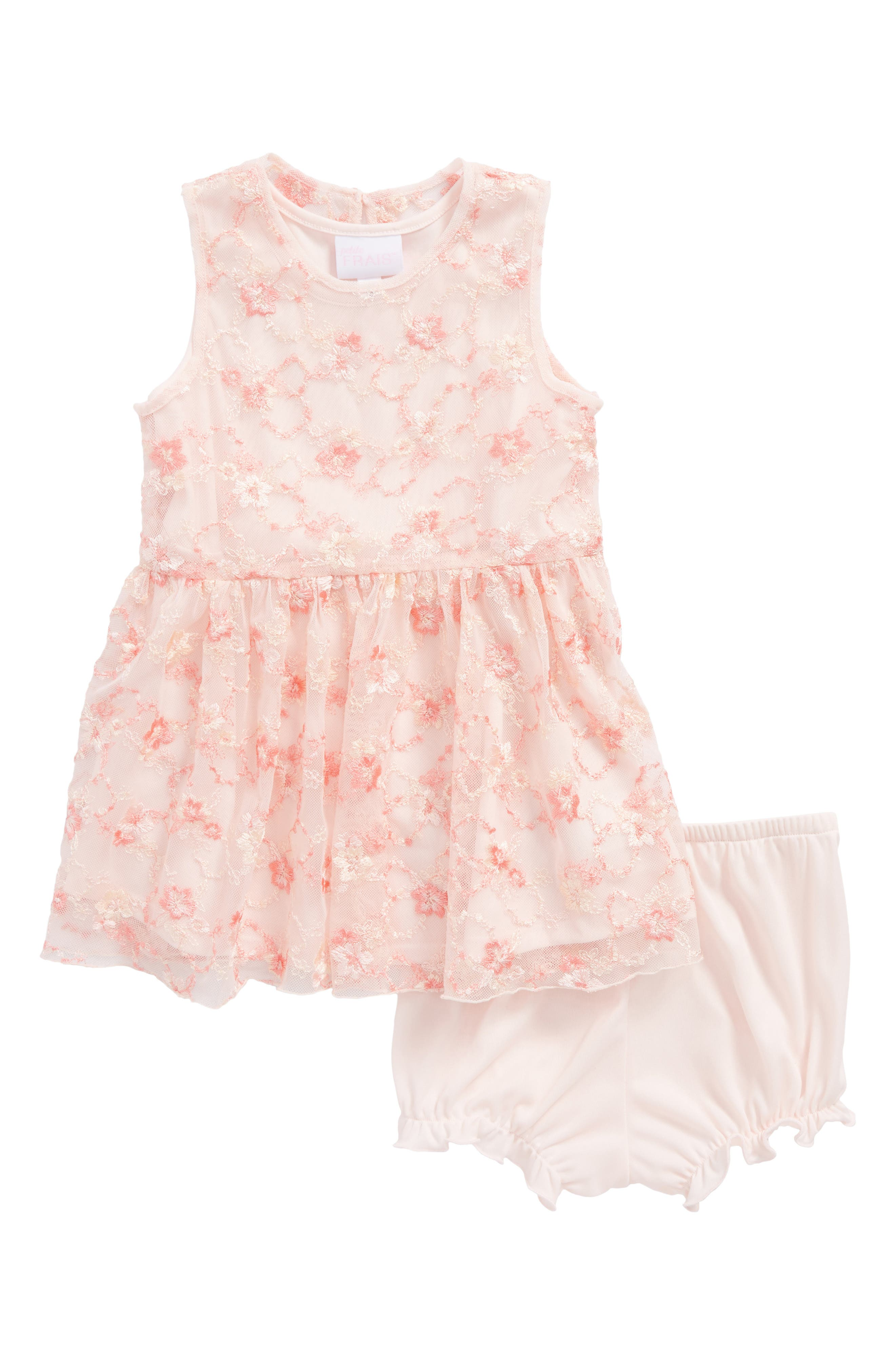 Main Image - Frais Floral Embroidered Tulle Dress (Baby Girls)