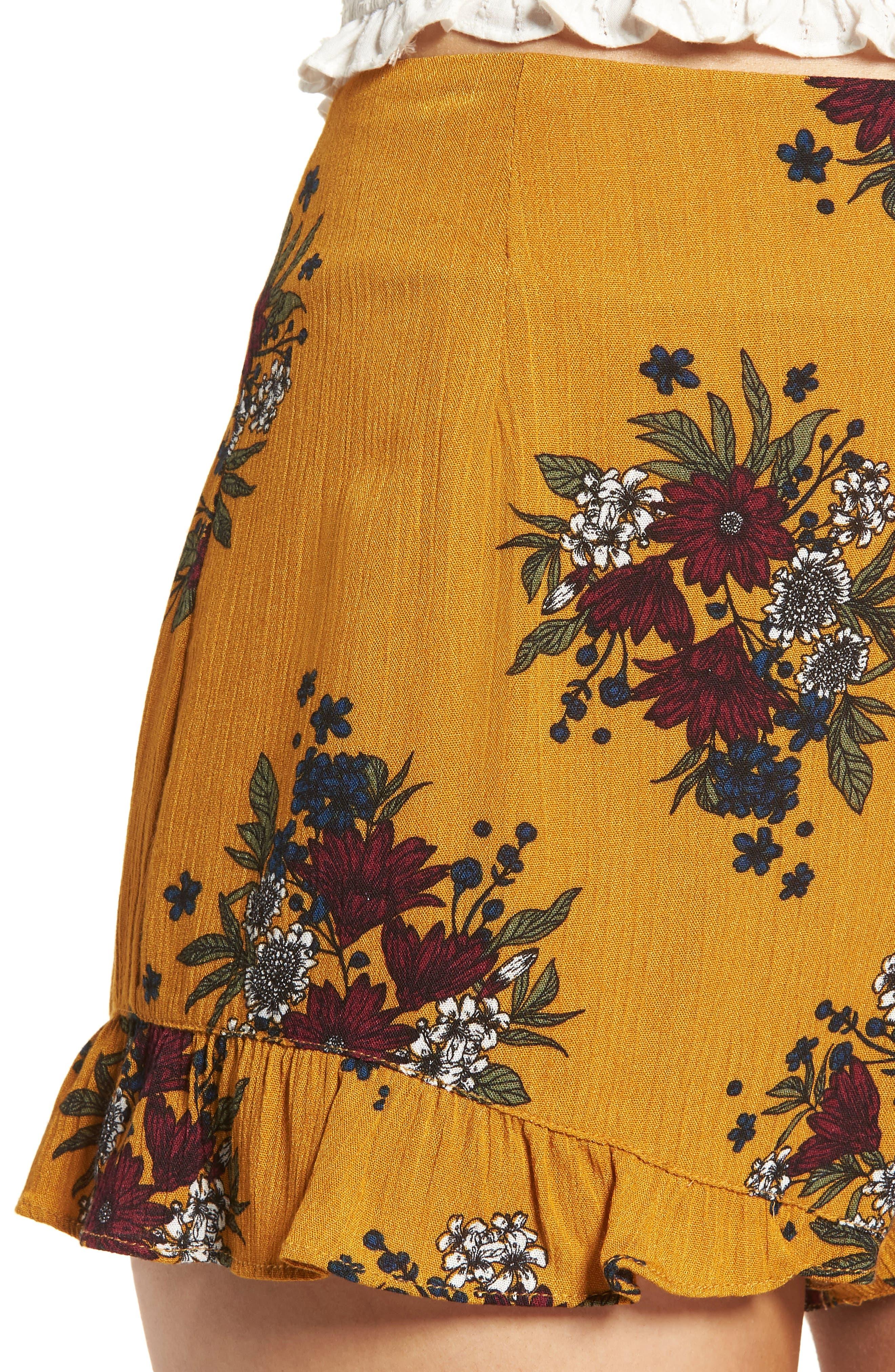 Theia Floral Ruffle Hem Shorts,                             Alternate thumbnail 4, color,                             Honey