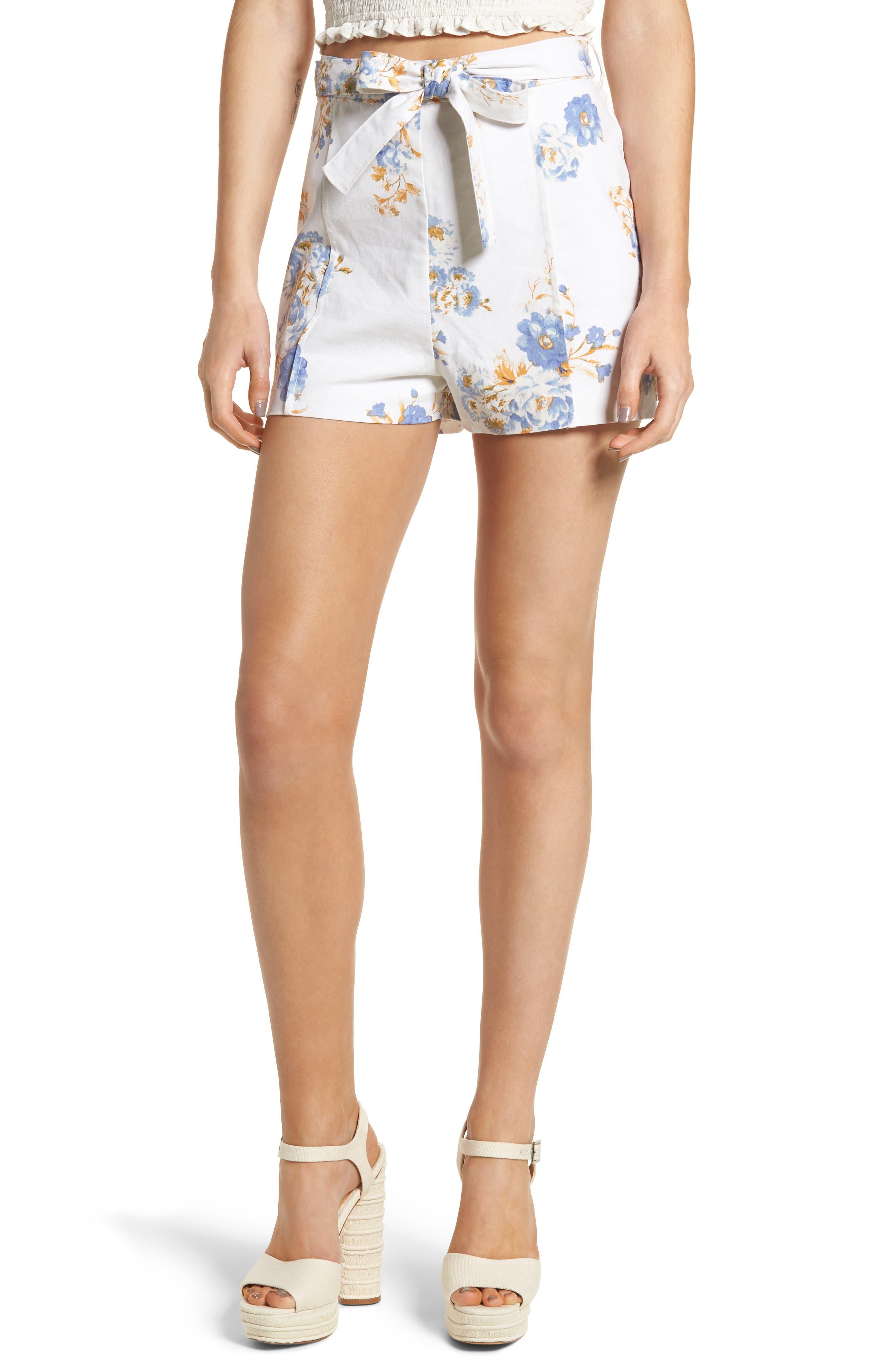 Matera High Waist Shorts,                             Main thumbnail 1, color,                             Ivory Floral