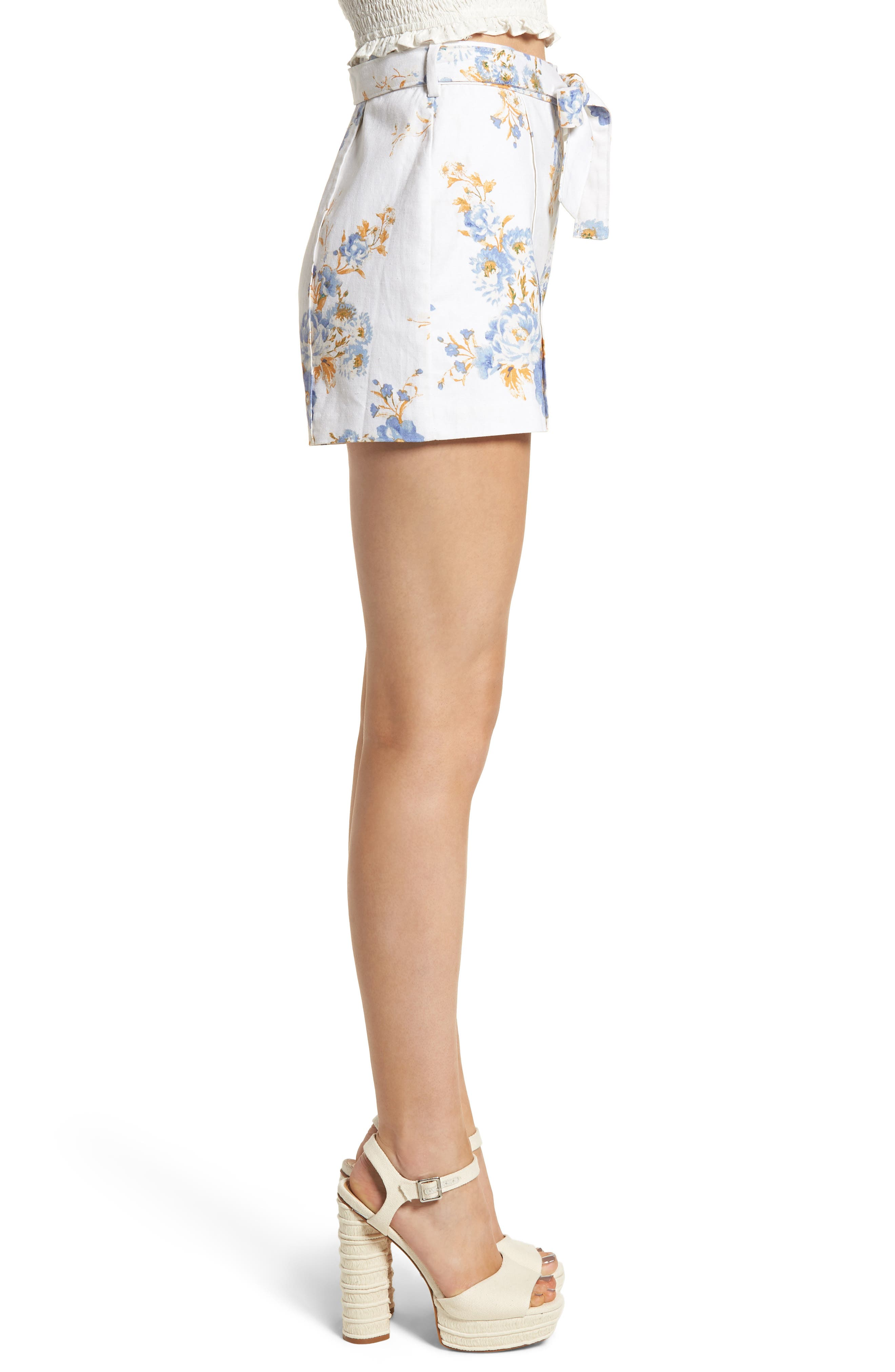 Matera High Waist Shorts,                             Alternate thumbnail 3, color,                             Ivory Floral