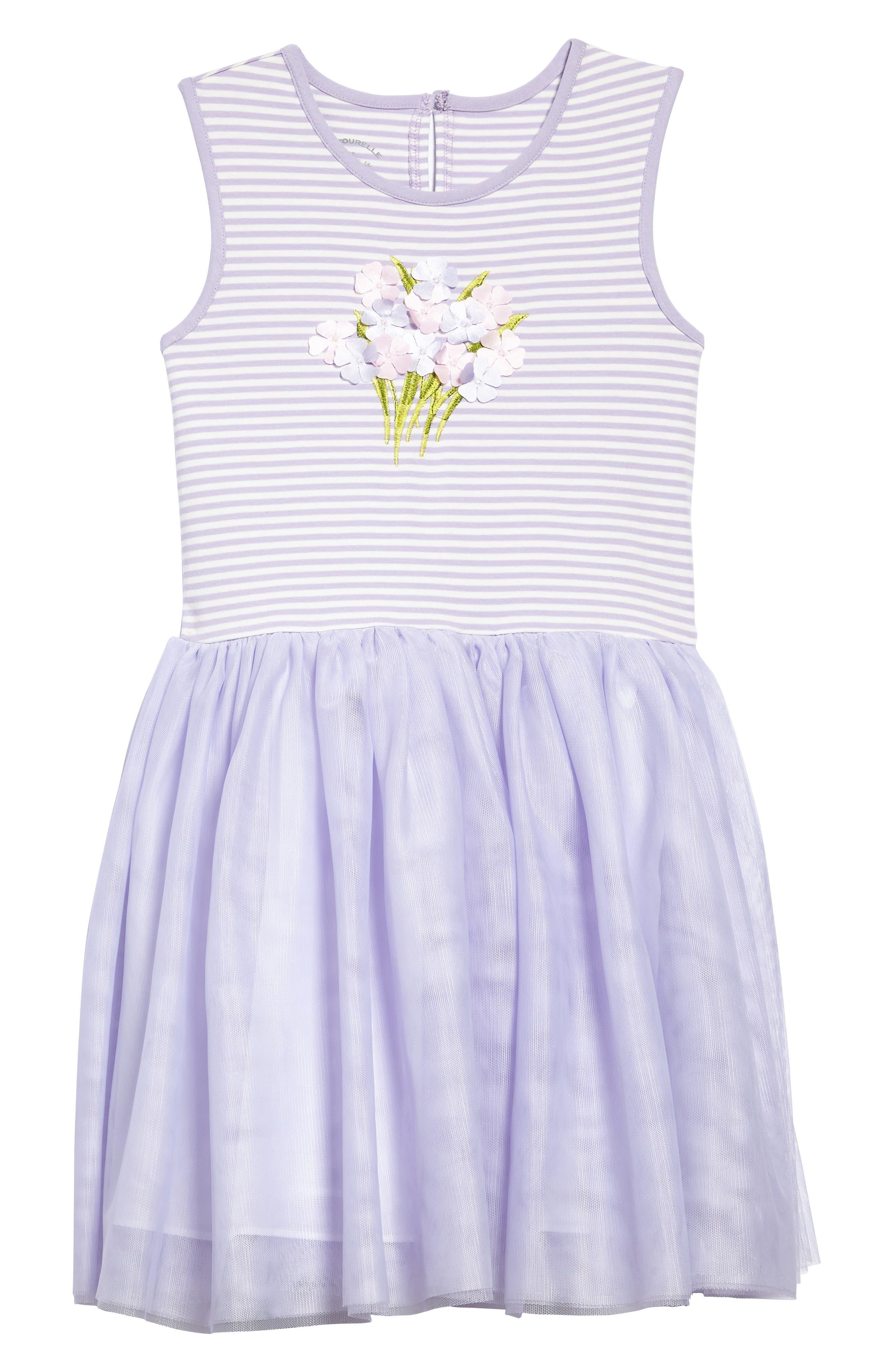 Sleeveless Tutu Dress,                         Main,                         color, Lavender/ White