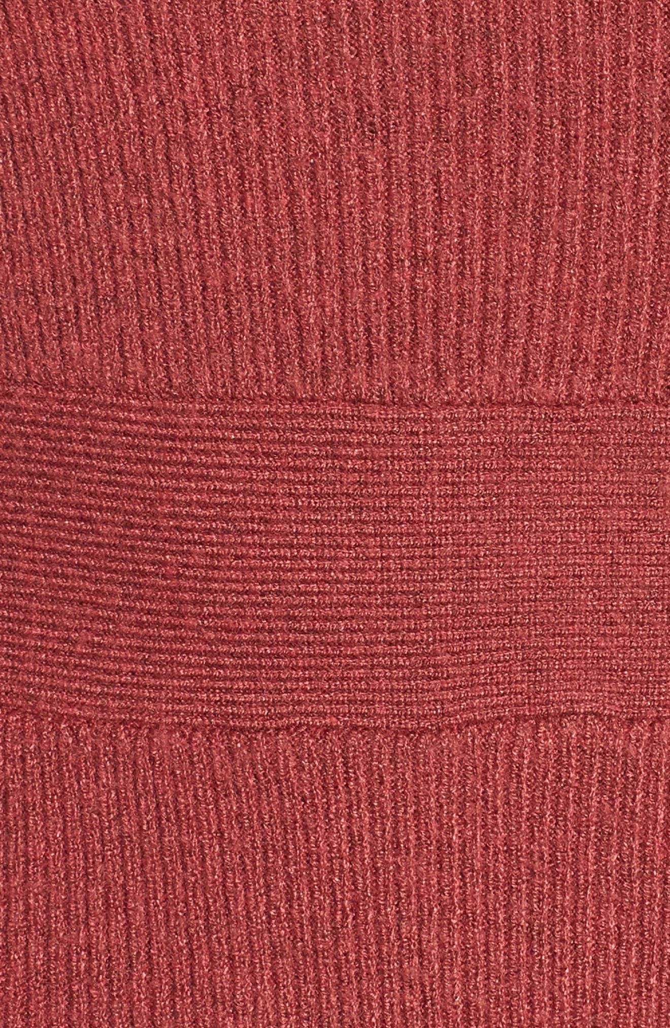 Midi Body-Con Dress,                             Alternate thumbnail 5, color,                             Red Baroque