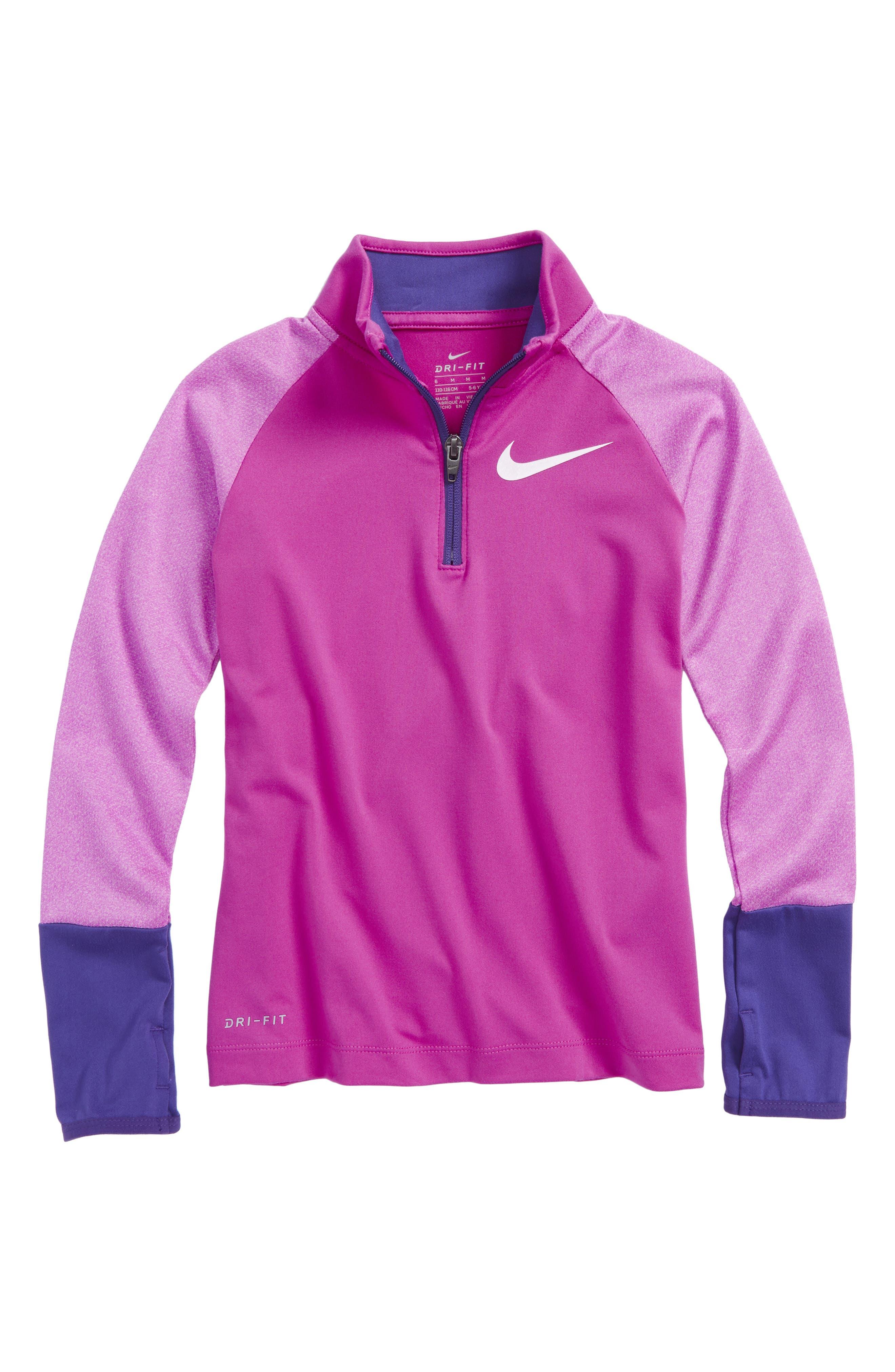 Alternate Image 1 Selected - Nike Dry Half Zip Pullover (Toddler Girls & Little Girls)