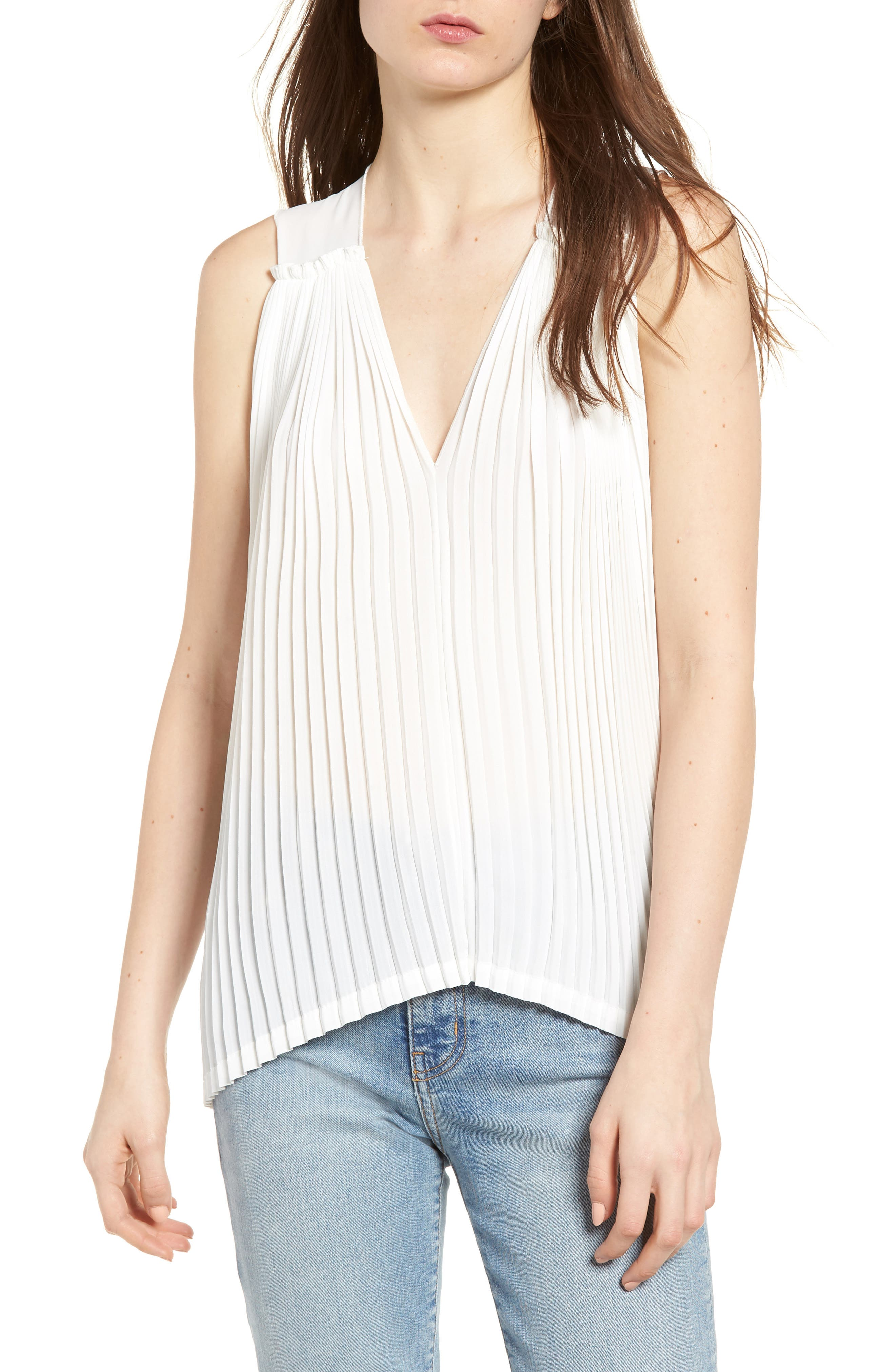 Bishop + Young Pleat Blouse,                         Main,                         color, White