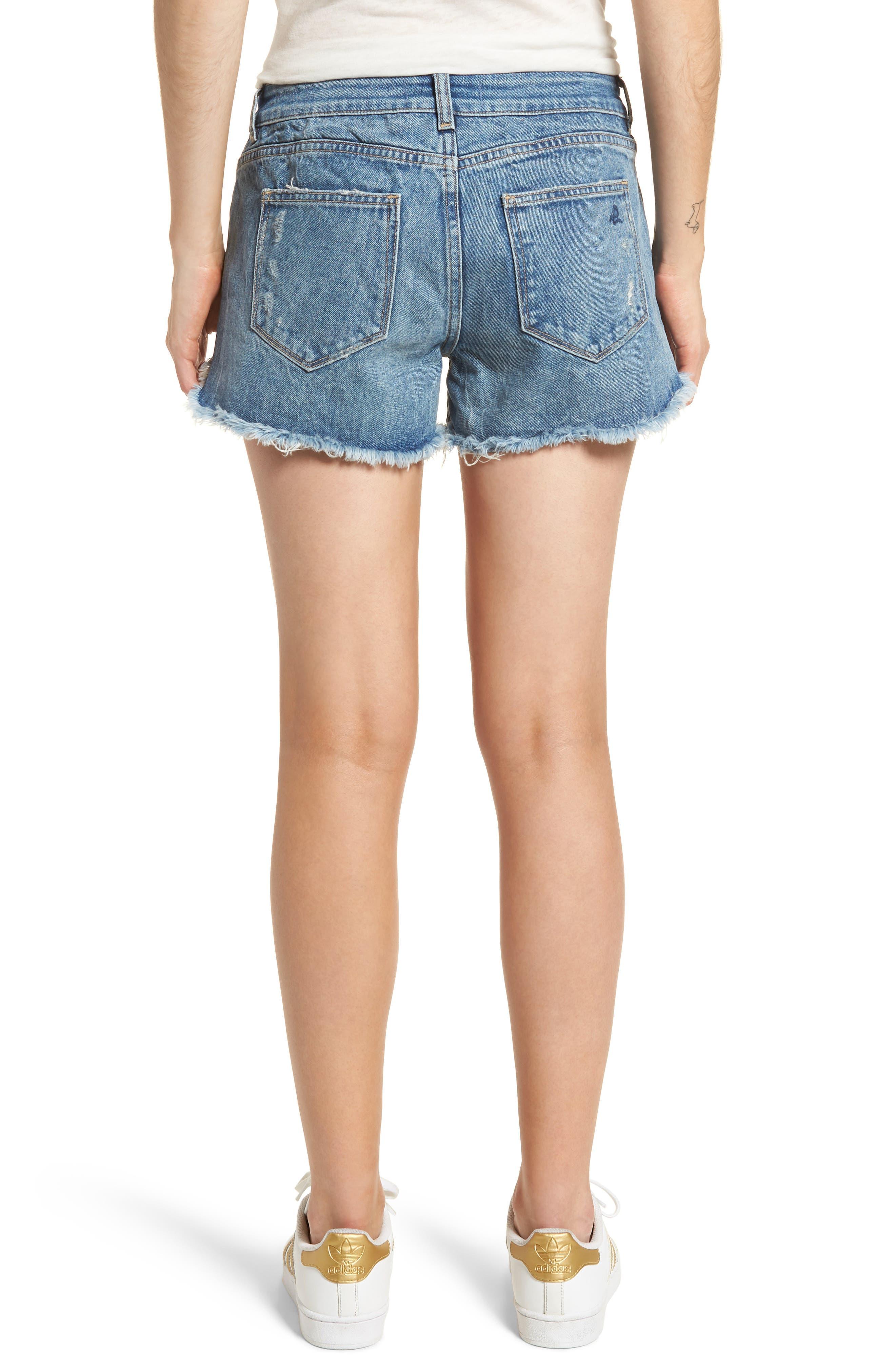 Renee Dolphin Hem Denim Shorts,                             Alternate thumbnail 2, color,                             Gold Coast