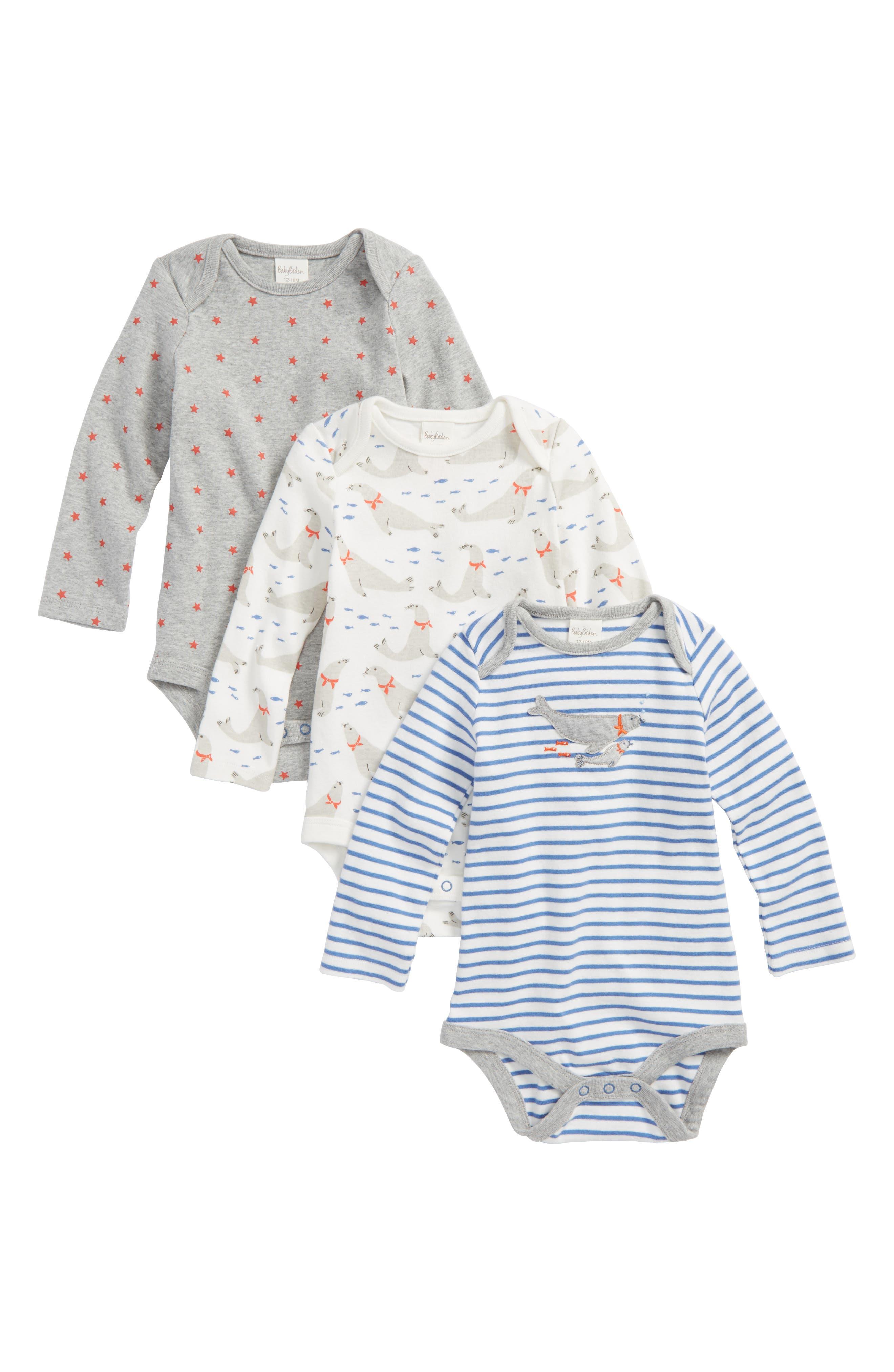 Main Image - Mini Boden 3-Pack Seals Cotton Bodysuits (Baby Boys)