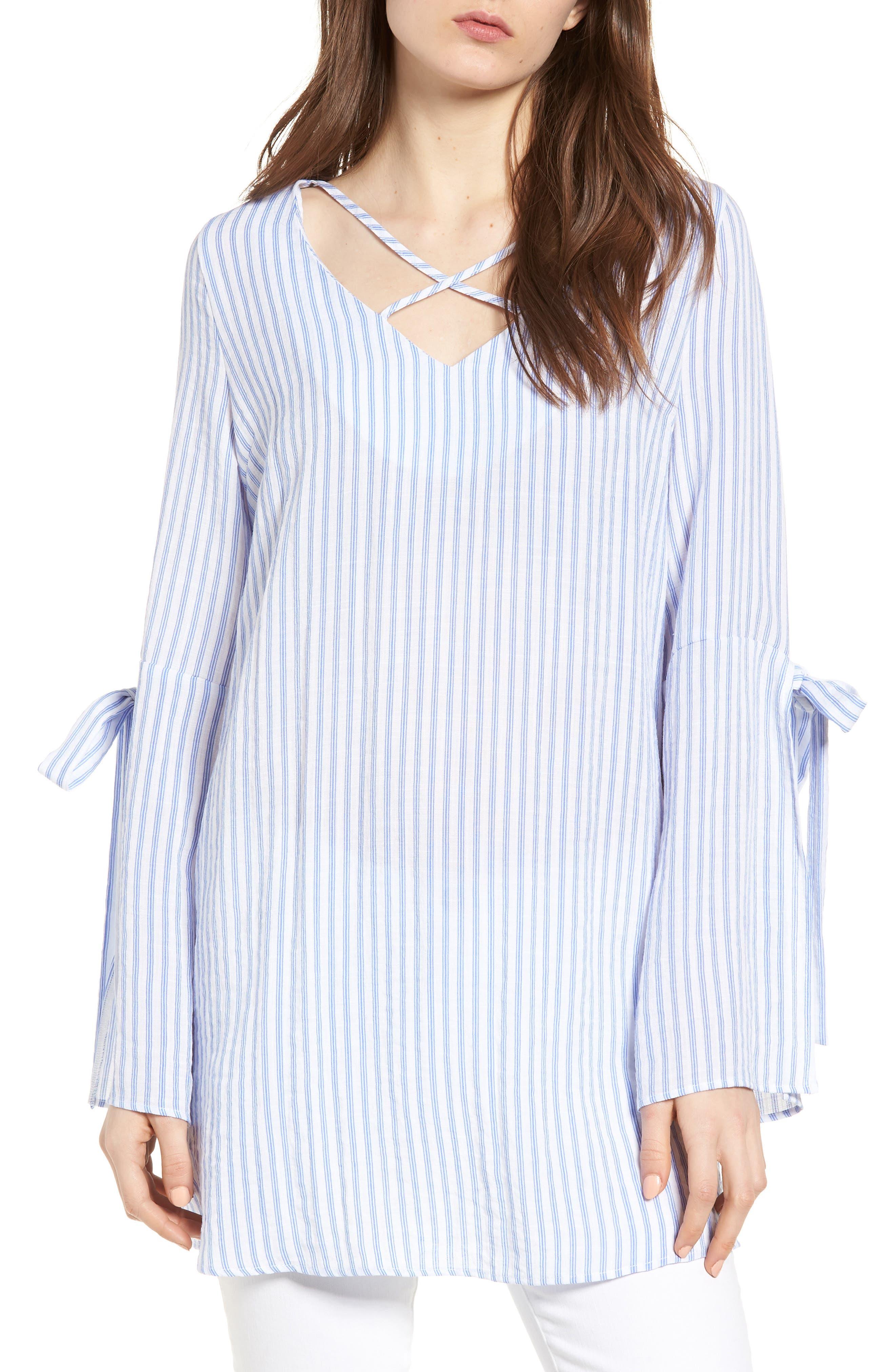 Bishop + Young Stripe Tunic Top,                             Main thumbnail 1, color,                             Blue White Stripe