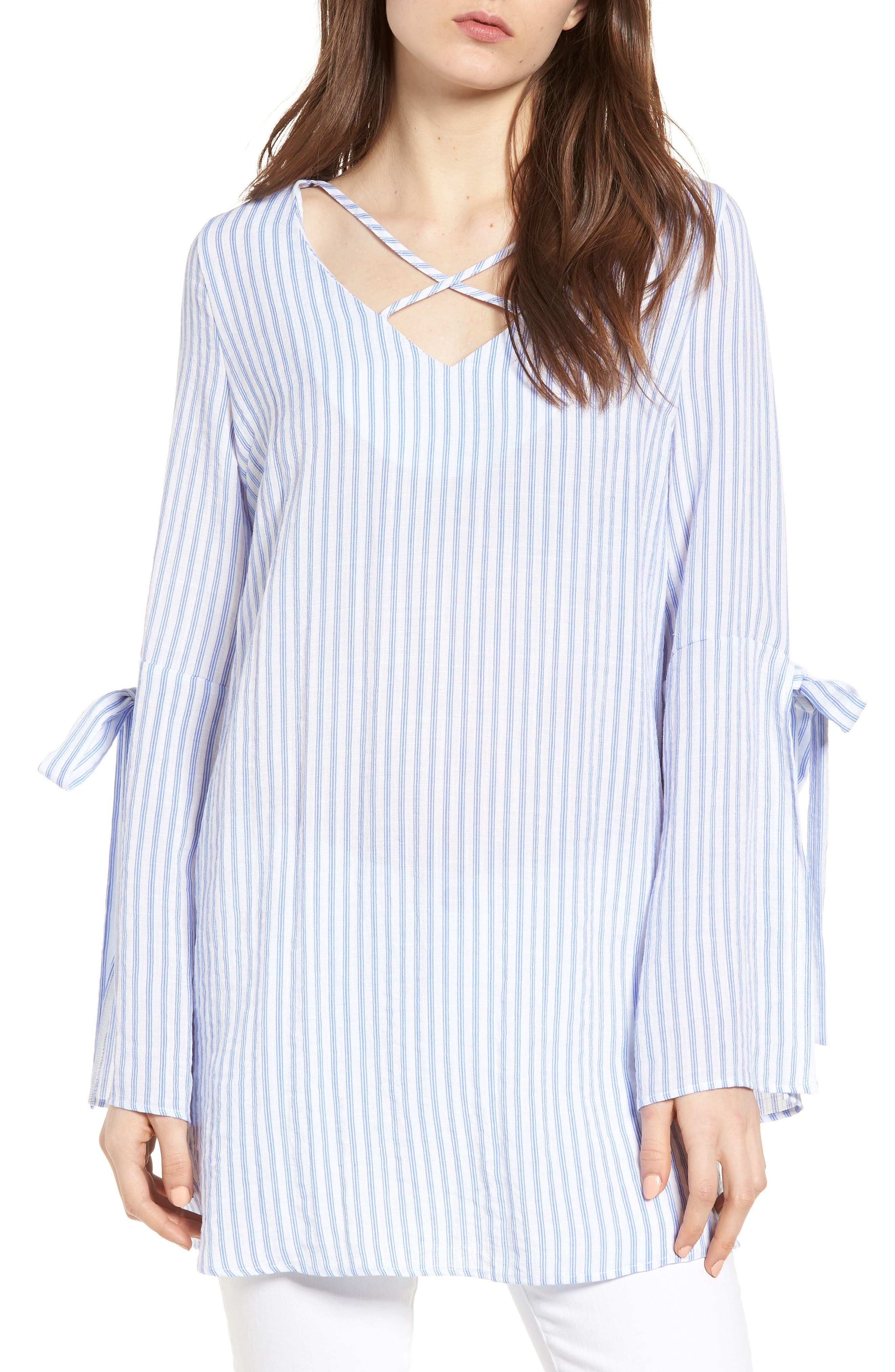 Bishop + Young Stripe Tunic Top,                         Main,                         color, Blue White Stripe
