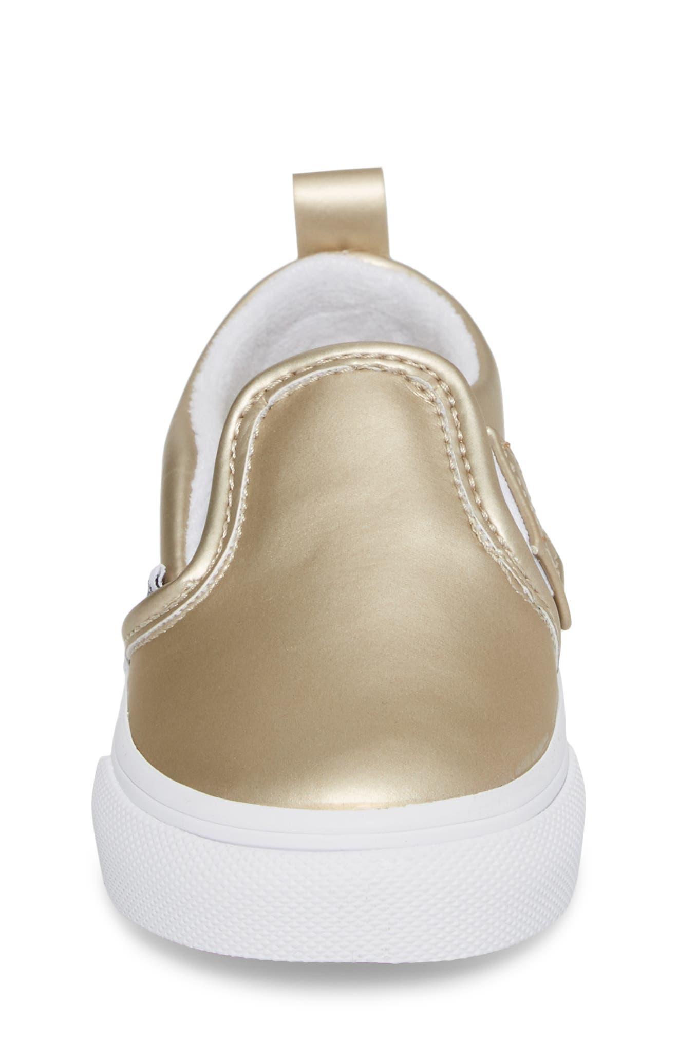 Classic Slip-On V Sneaker,                             Alternate thumbnail 4, color,                             Muted Metallic Gold/ White