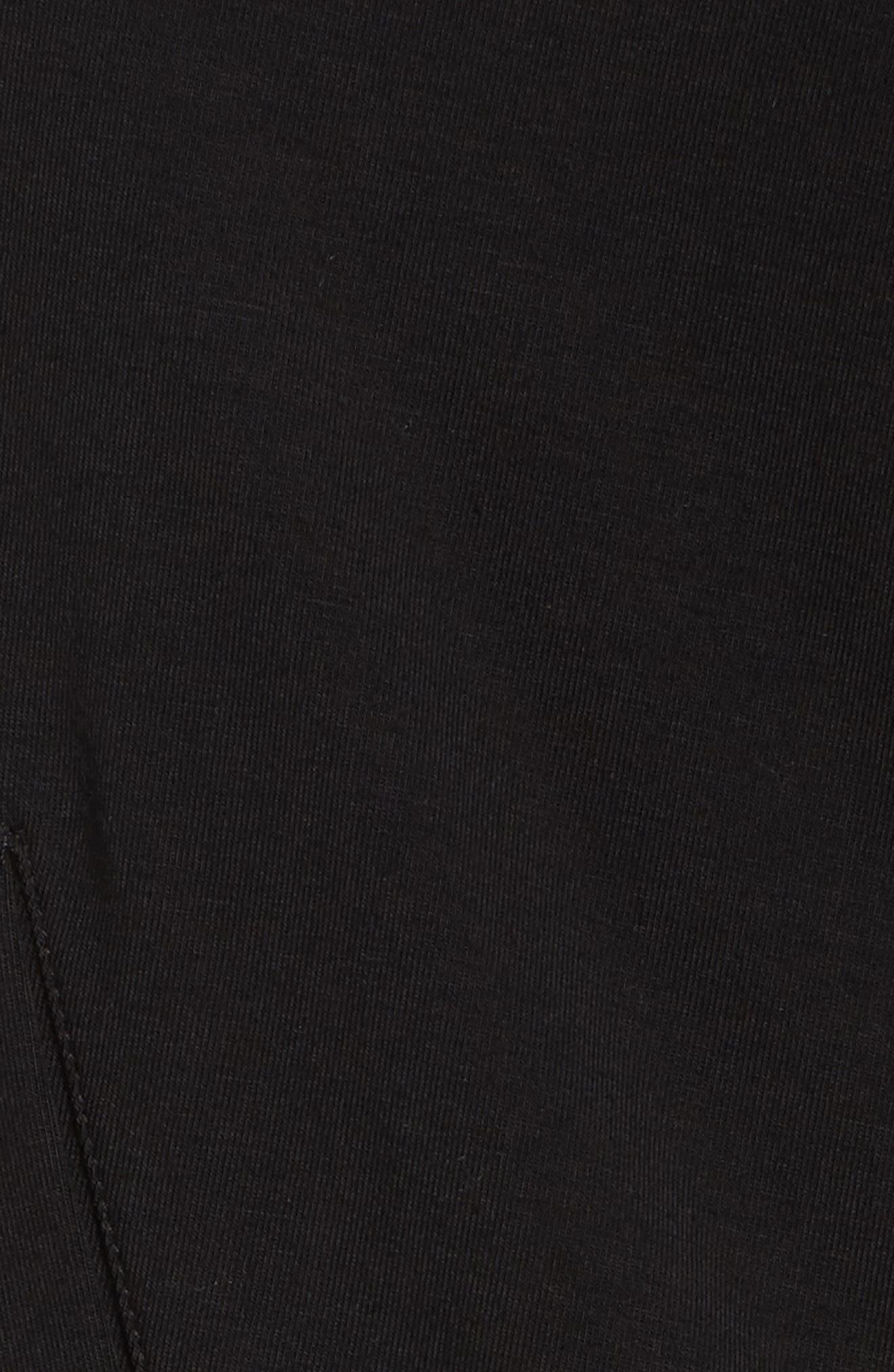 Stretch Organic Cotton Hooded Cardigan,                             Alternate thumbnail 5, color,                             Black
