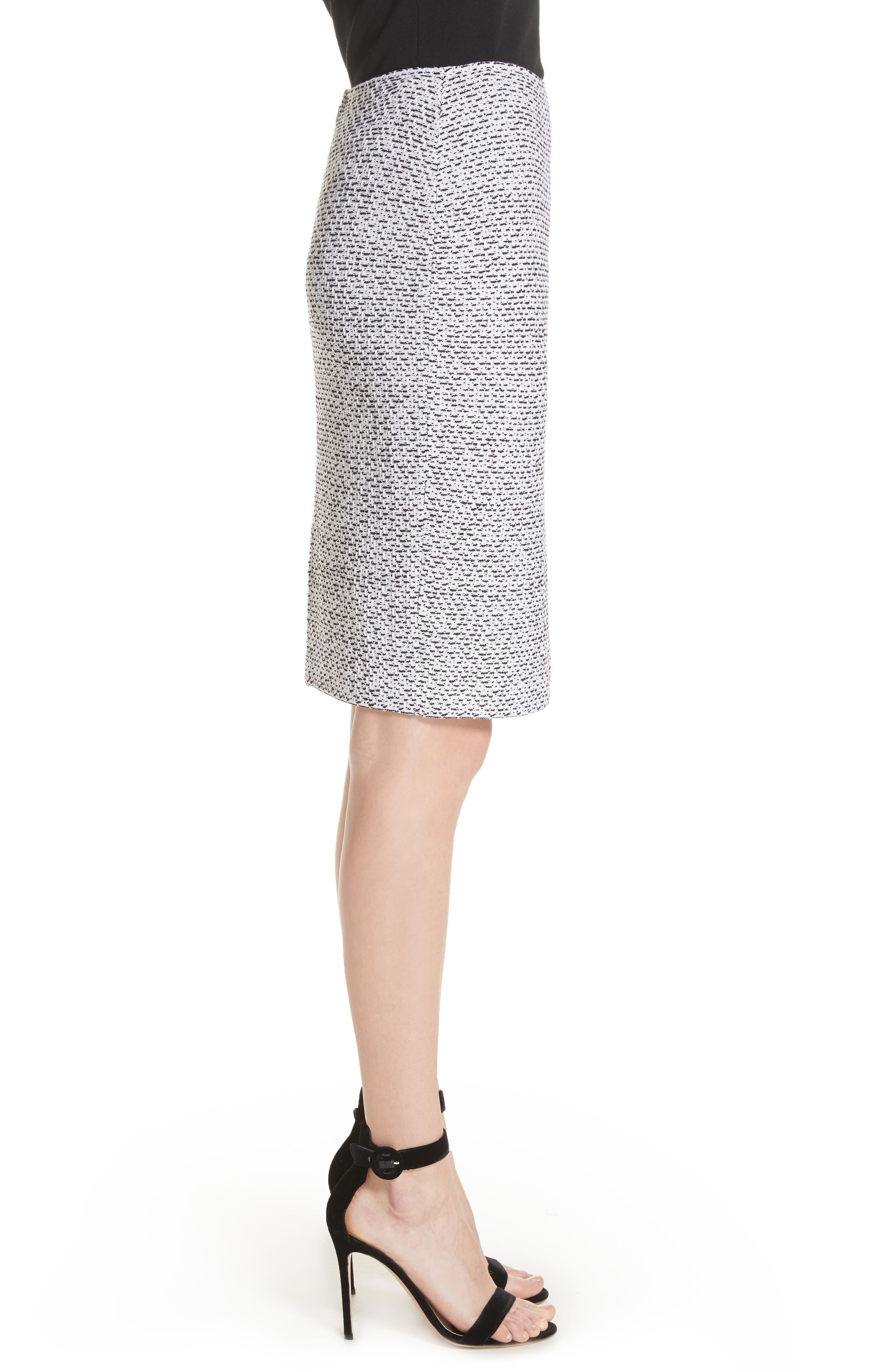 Olivia Bouclé Knit Skirt,                             Alternate thumbnail 3, color,                             White/ Caviar