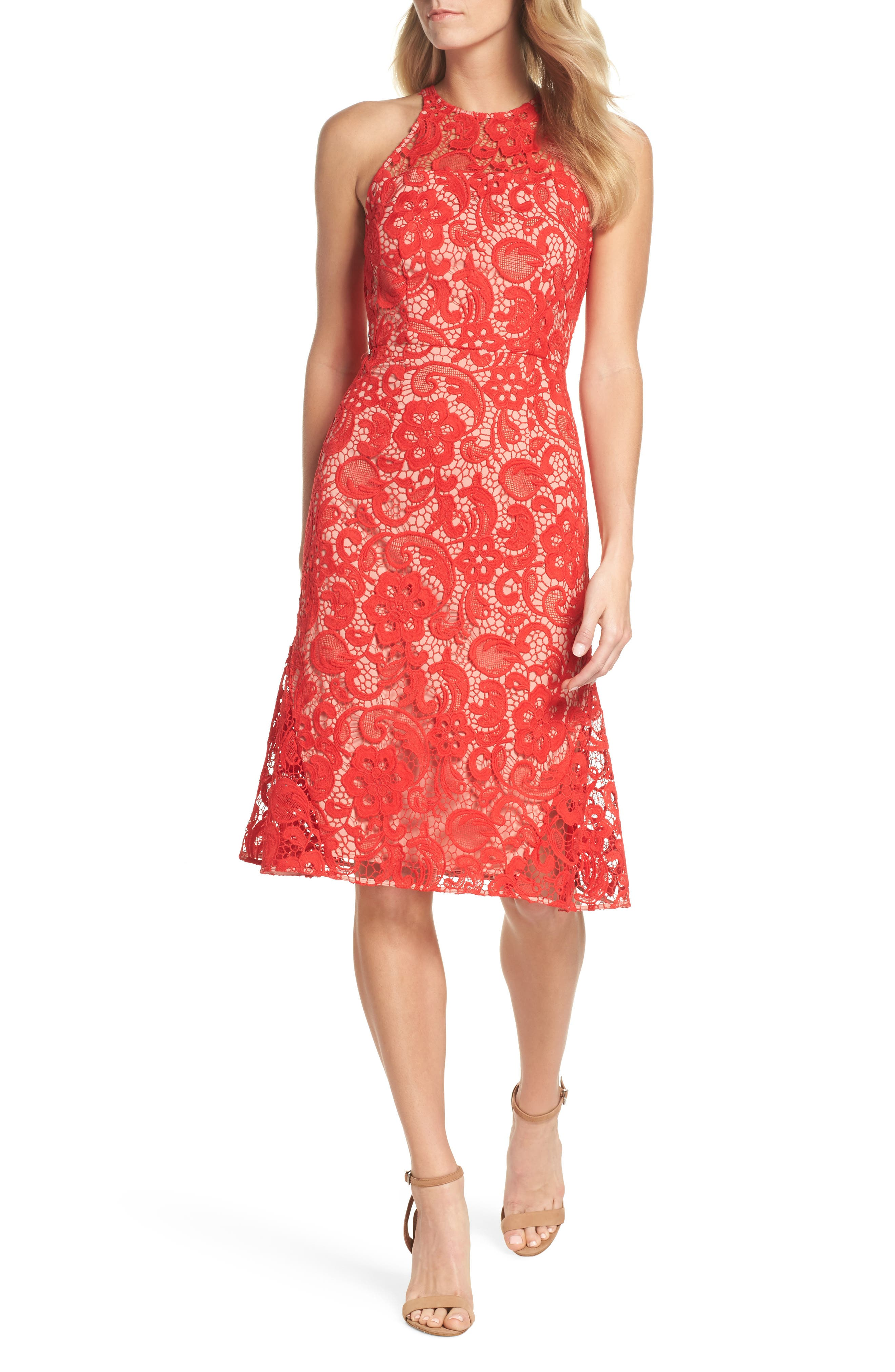 Carnation Lace Dress,                             Main thumbnail 1, color,                             Red Fiery