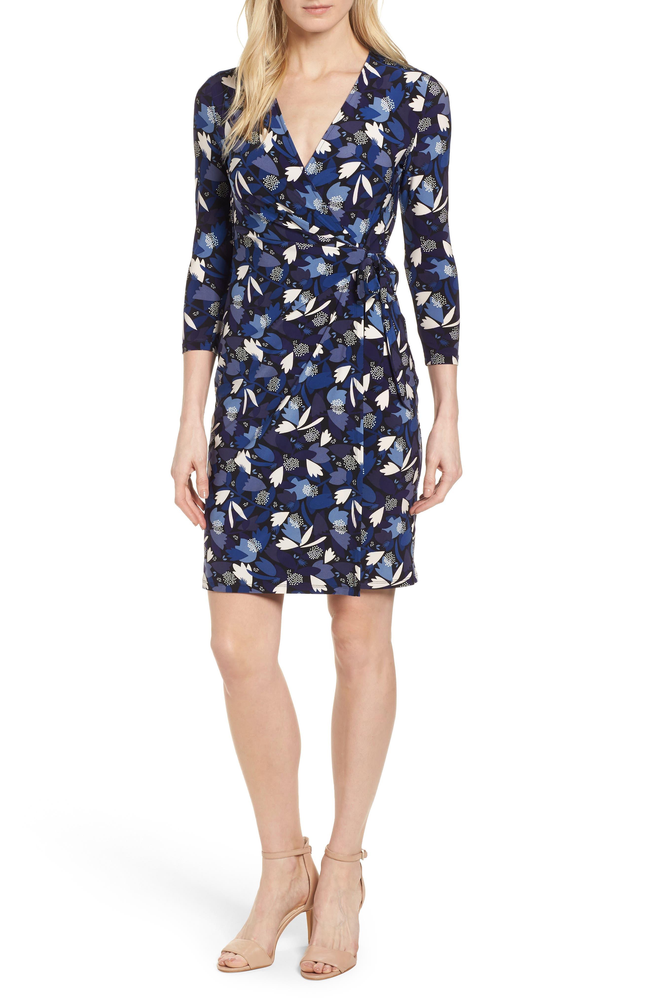 New York Amalfi Print Classic Wrap Dress,                         Main,                         color, Black/ Monaco Combo