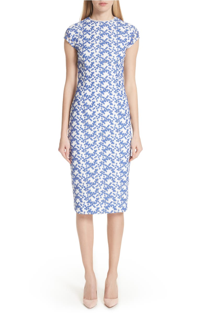 95908837 Lela Rose Cap-Sleeve Dotted Floral-Lace Fitted Sheath Dress In Ivory /  Cobalt