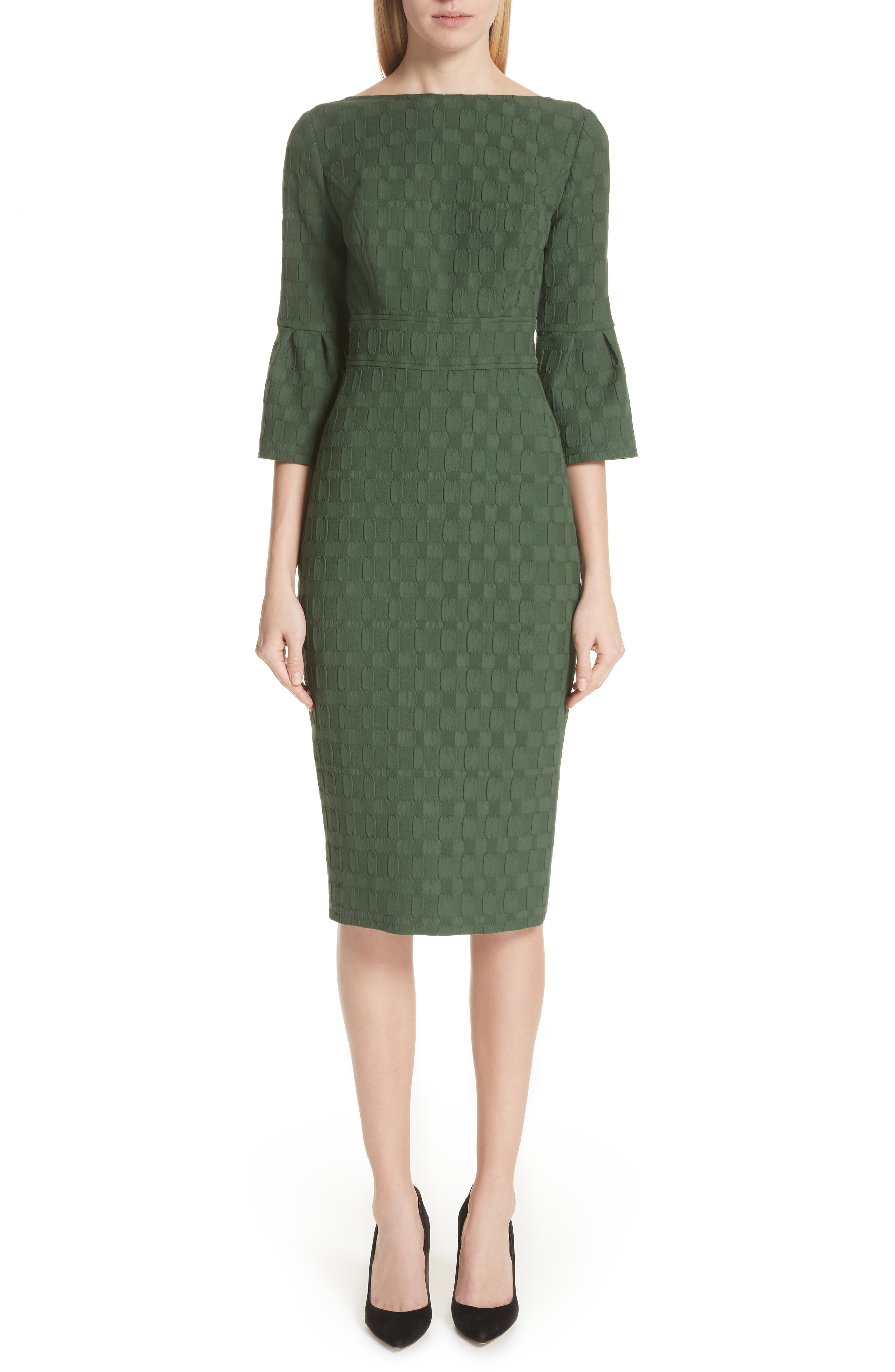 Lela Rose Flutter Sleeve Stretch Jacquard Sheath Dress