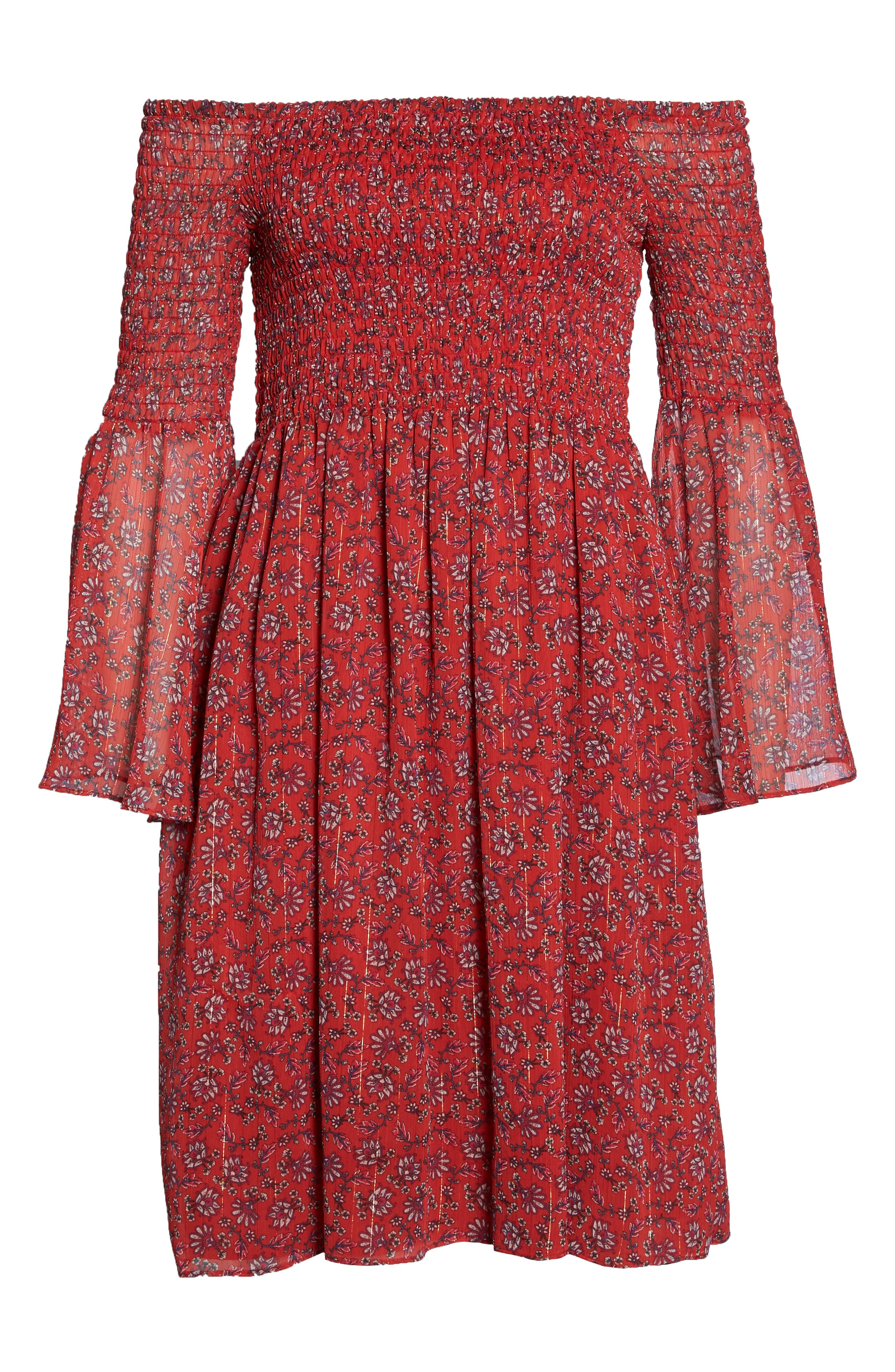 Off the Shoulder Babydoll Dress,                             Alternate thumbnail 7, color,                             Cayenne