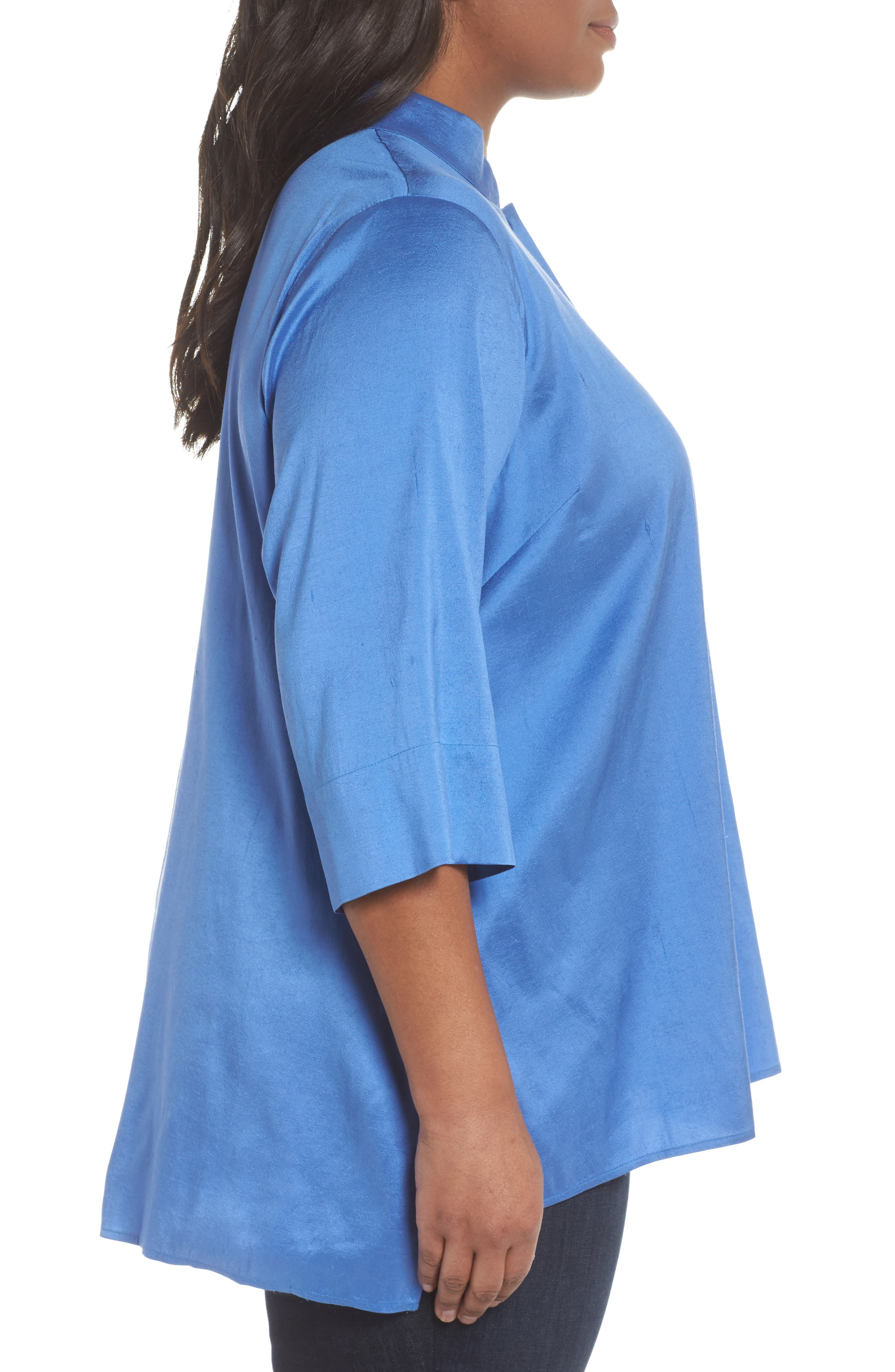 Notch Collar Shirt,                             Alternate thumbnail 3, color,                             Blue Bell