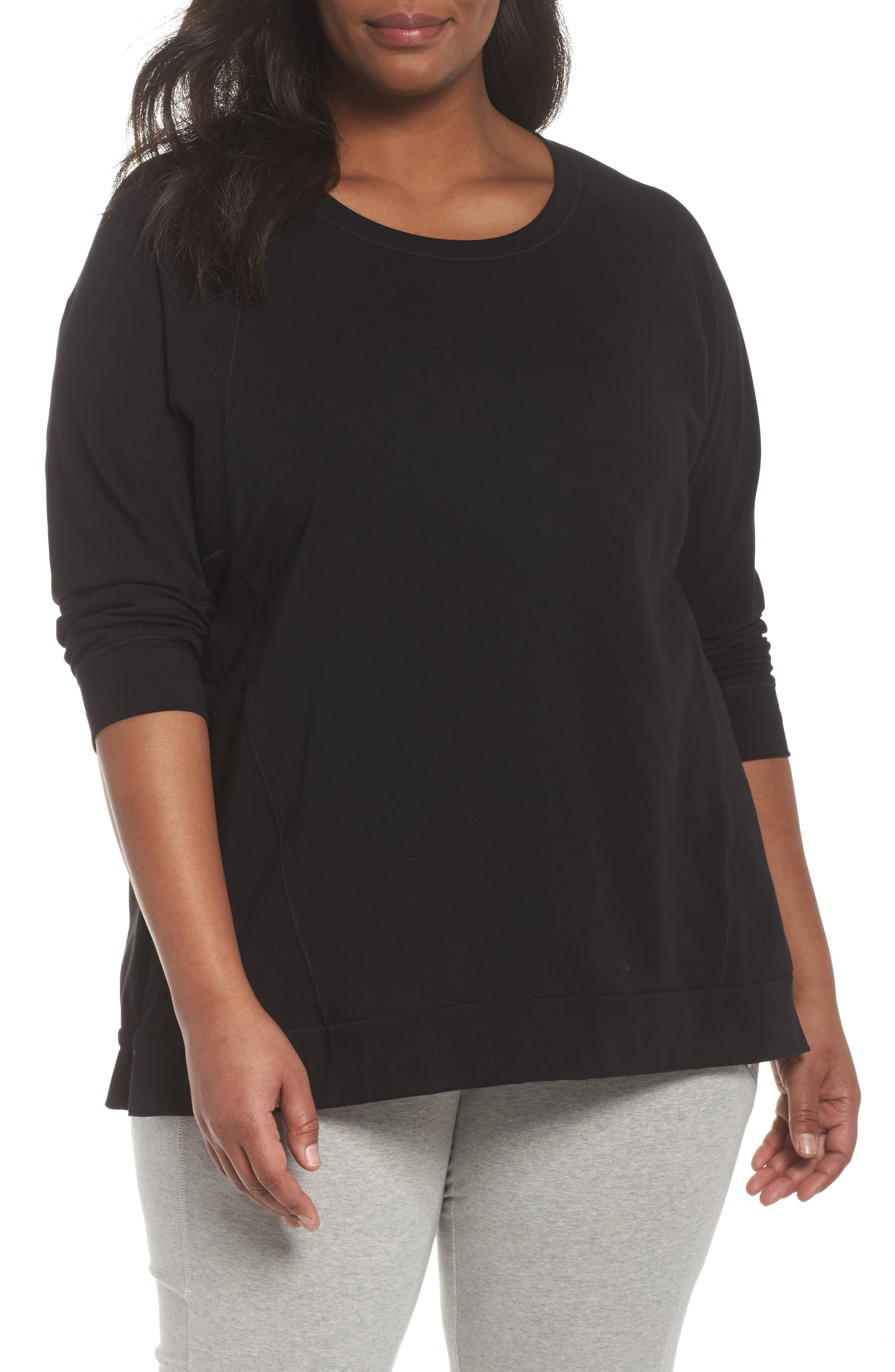 Organic Jersey Side Zip Top,                         Main,                         color, Black