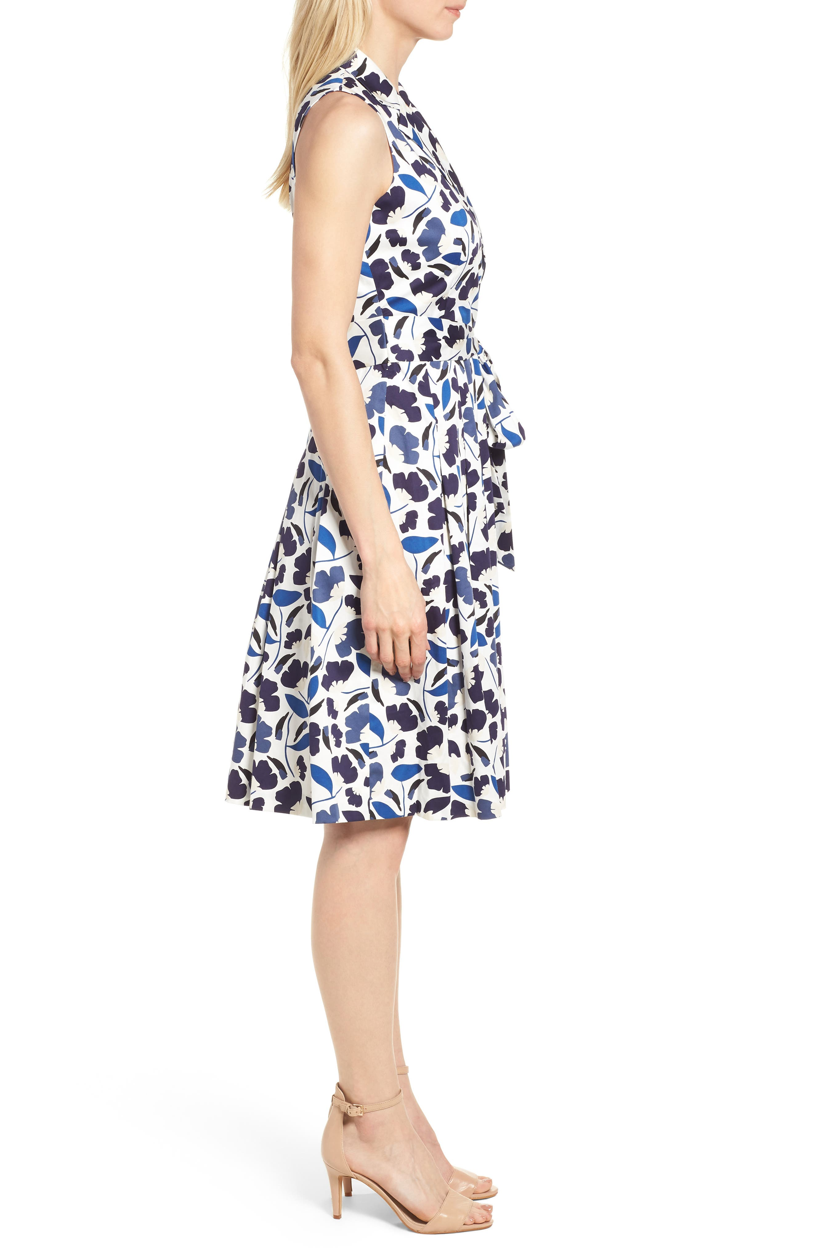 New York Humboldt Cotton Sateen Dress,                             Alternate thumbnail 3, color,                             Monaco Combo