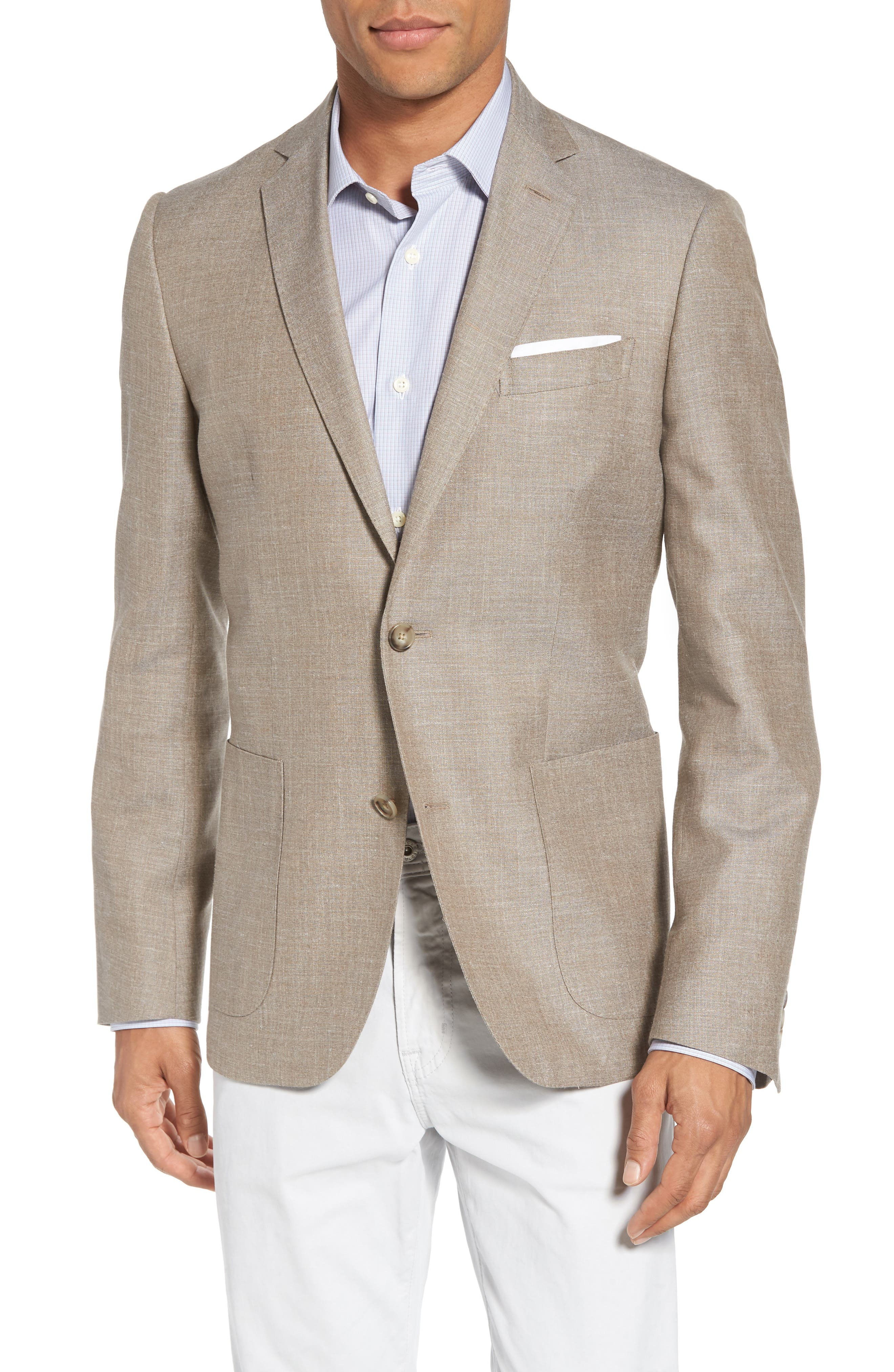 Trim Fit Wool Blend Blazer,                             Main thumbnail 1, color,                             Tan