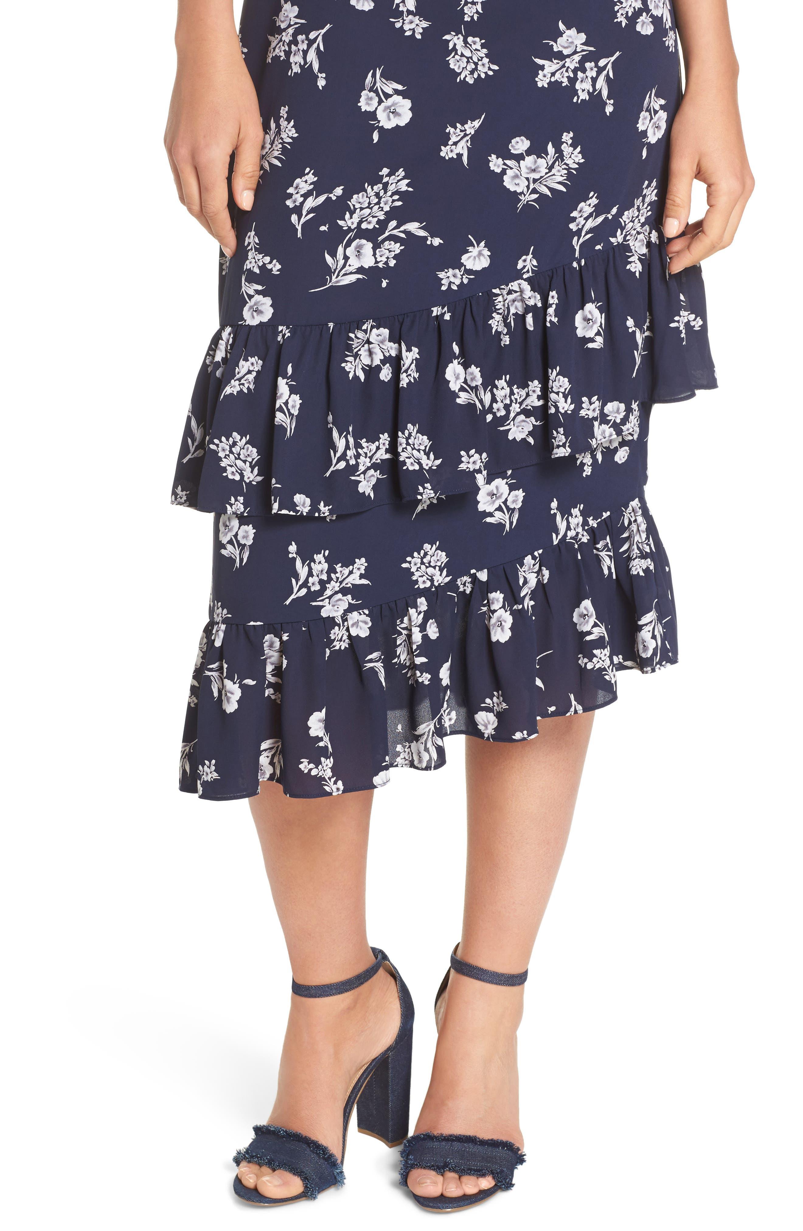 Ruffle Midi Dress,                             Alternate thumbnail 4, color,                             Navy