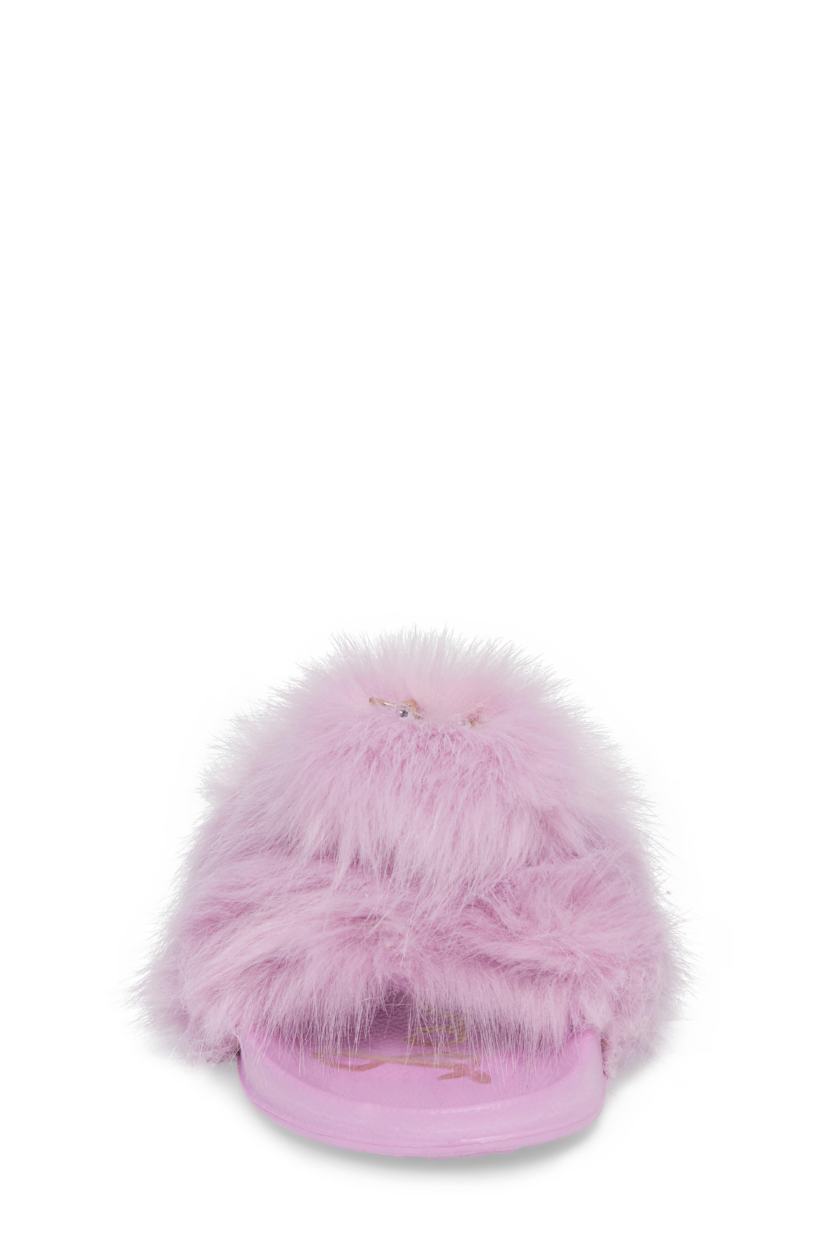 Mackie Aster Faux Fur Slide Sandal,                             Alternate thumbnail 4, color,                             Lavender Faux Fur