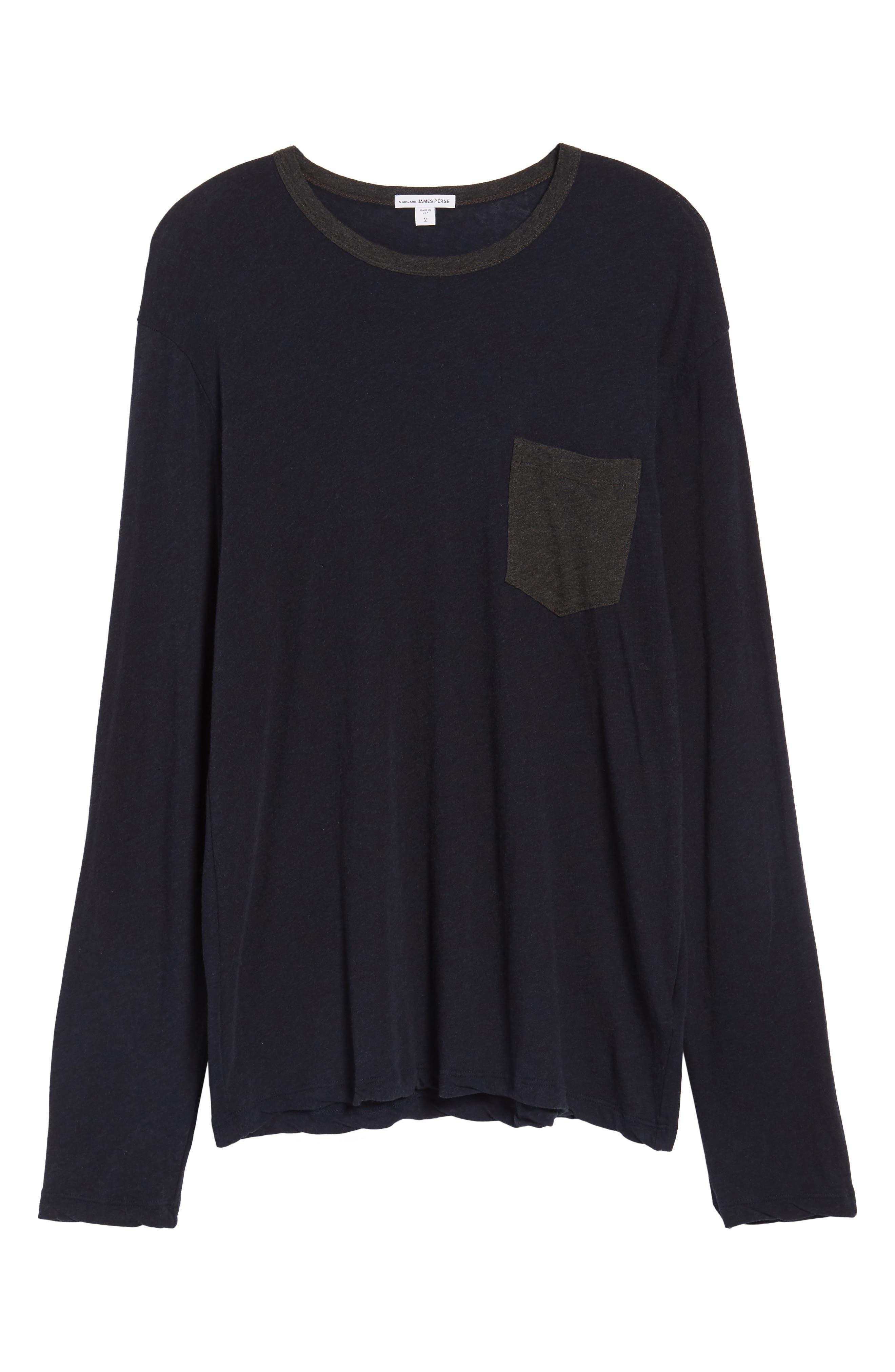 Contrast Pocket Long Sleeve T-Shirt,                             Alternate thumbnail 6, color,                             Deep/ Anthracite
