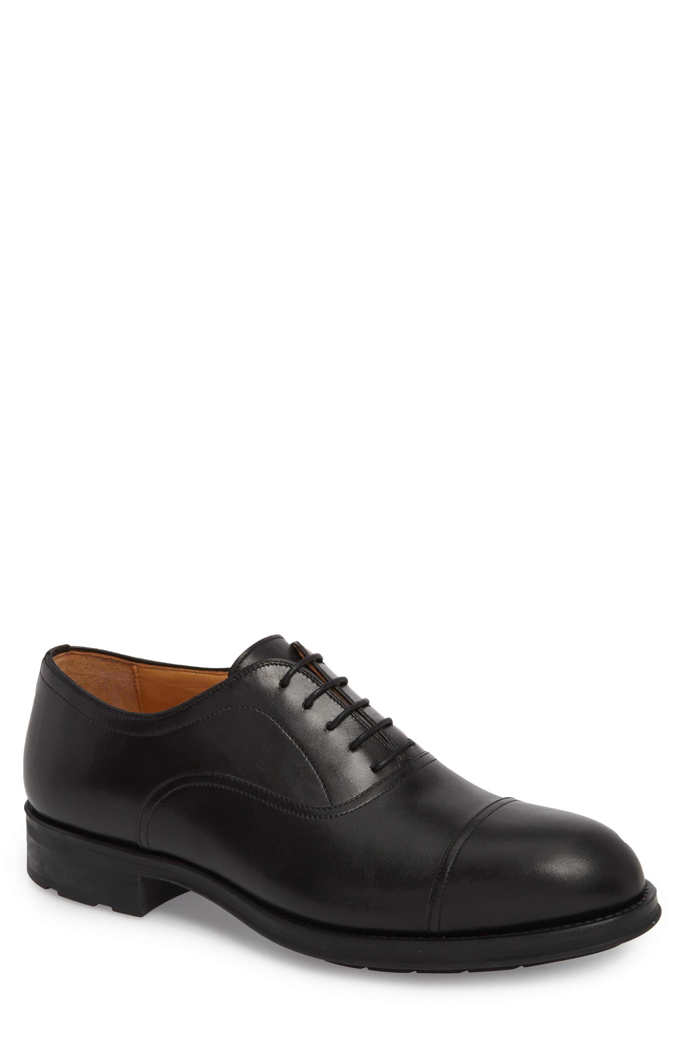 Tadeo Cap Toe Oxford,                         Main,                         color, Black Leather