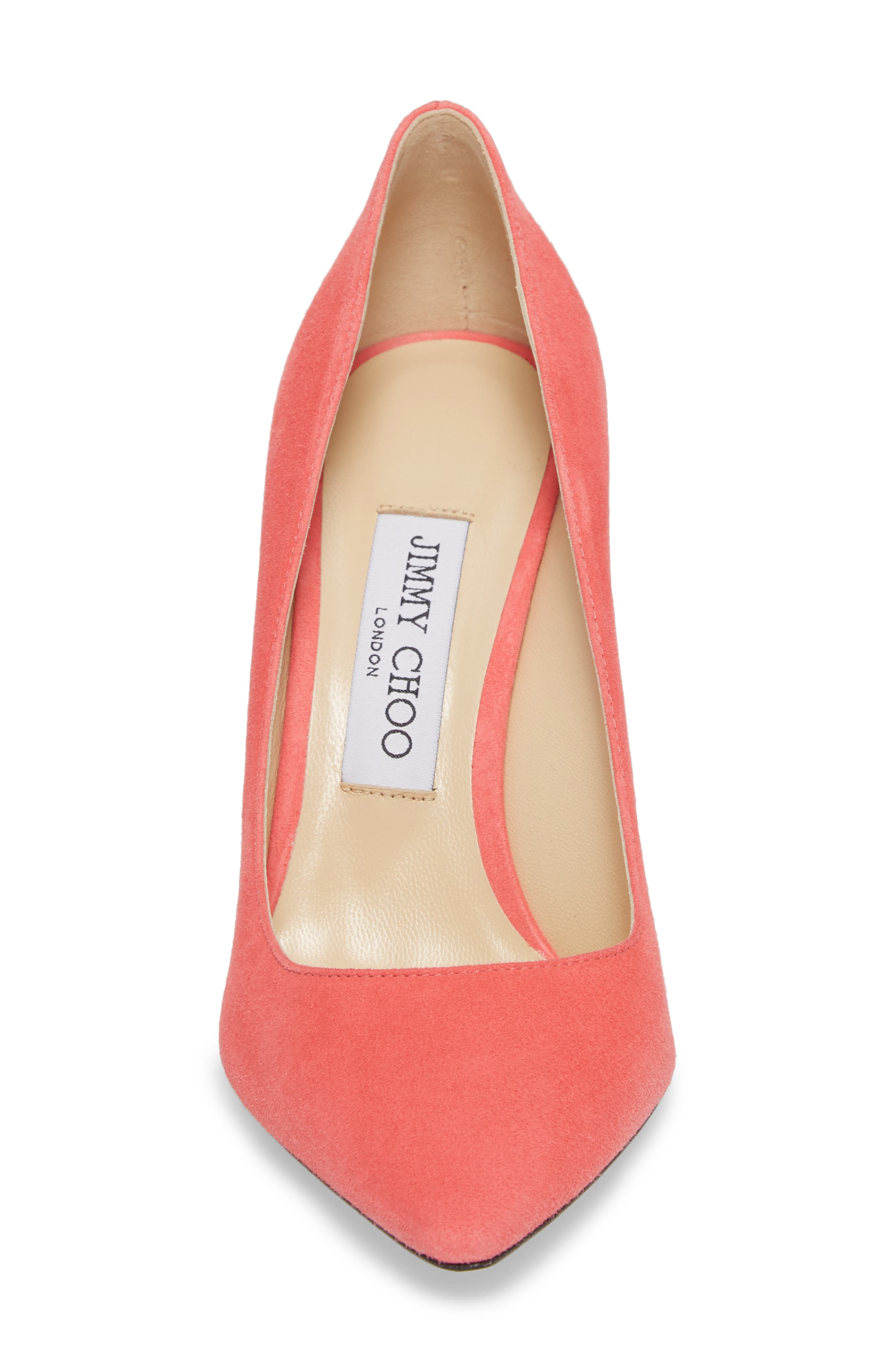 'Romy' Pointy Toe Pump,                             Alternate thumbnail 4, color,                             Flamingo Pink