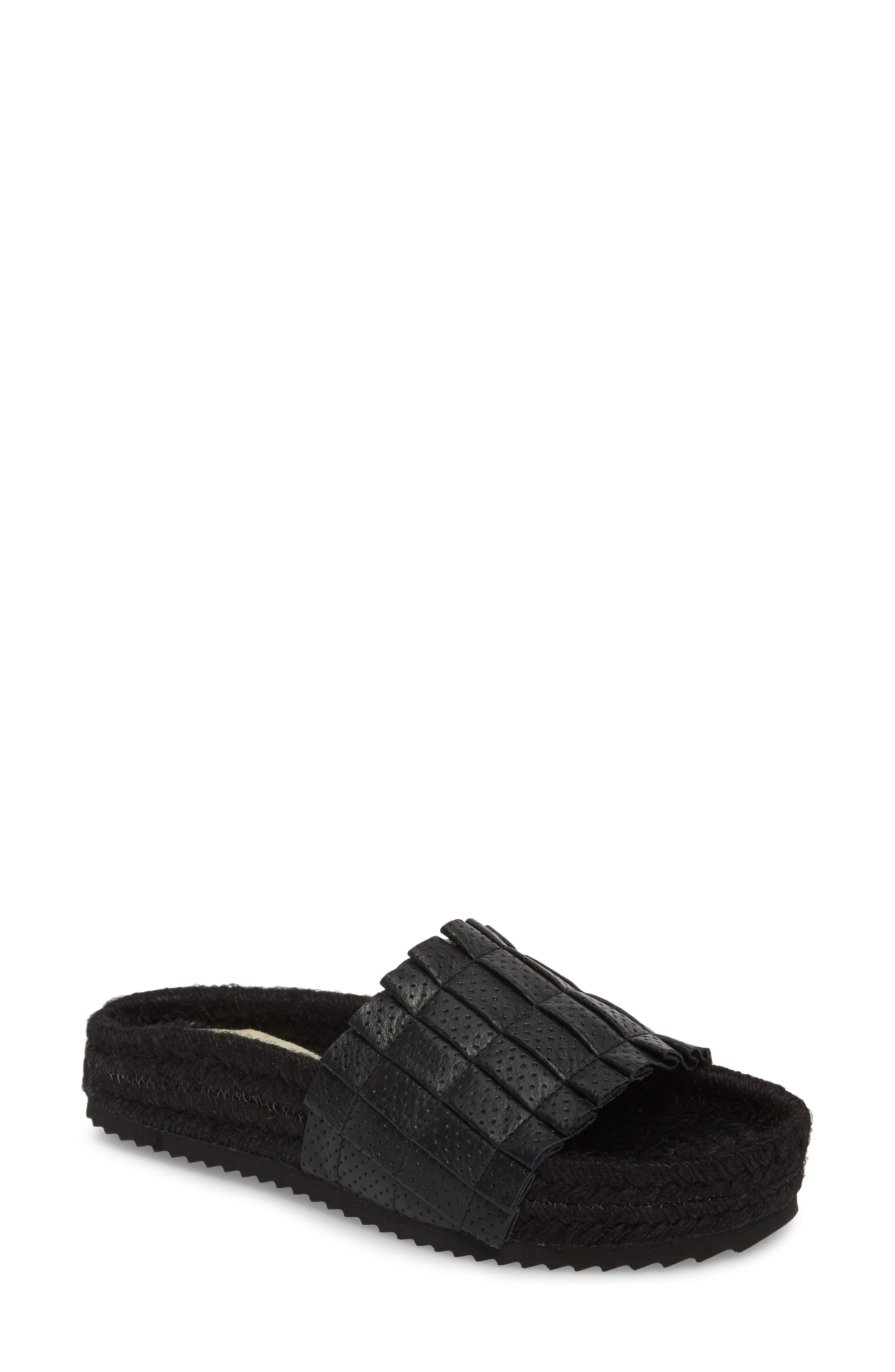 Island Time Espadrille Slide Sandal,                         Main,                         color, Black