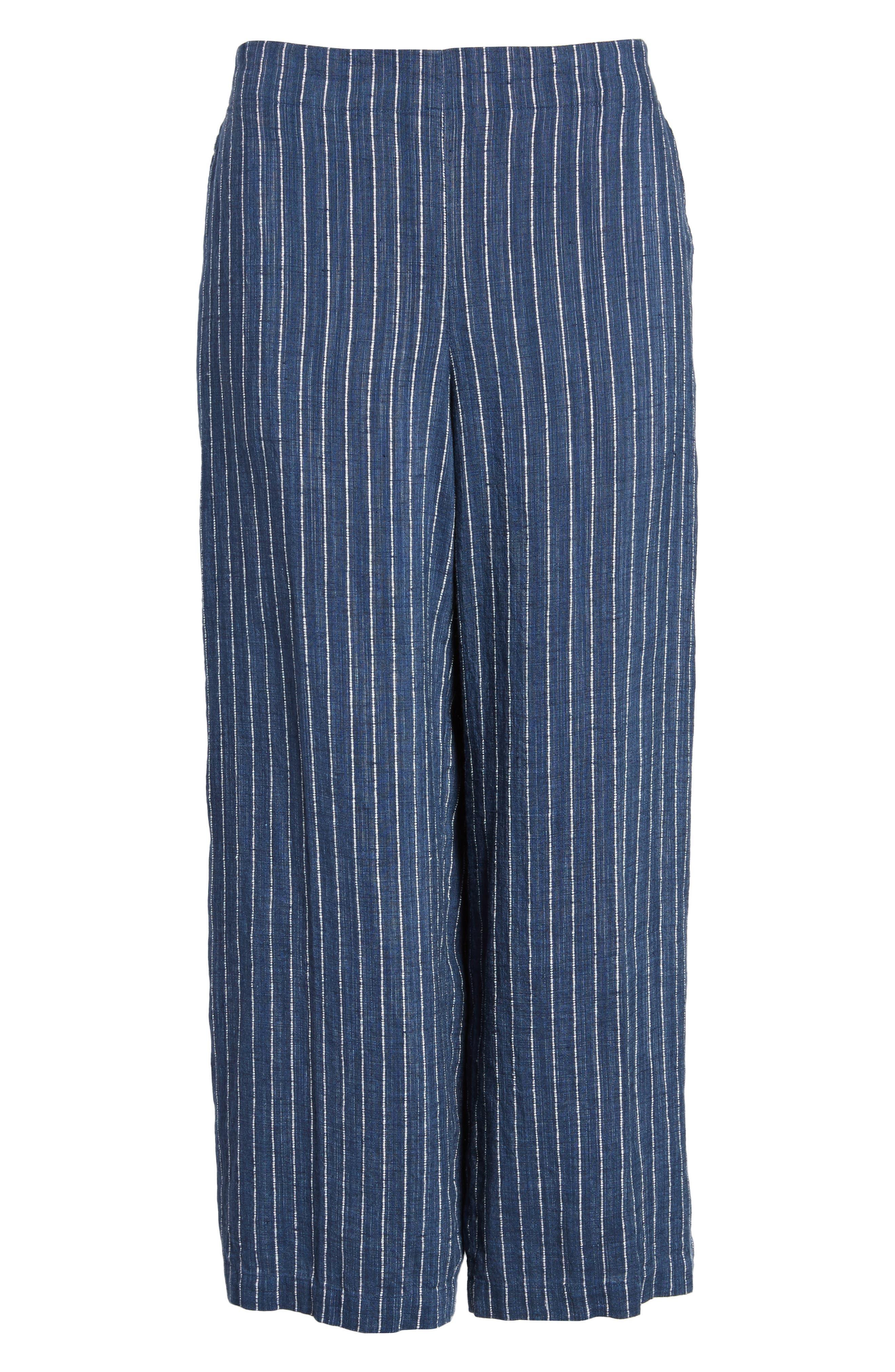 Stripe Linen Crop Pants,                             Alternate thumbnail 7, color,                             Denim