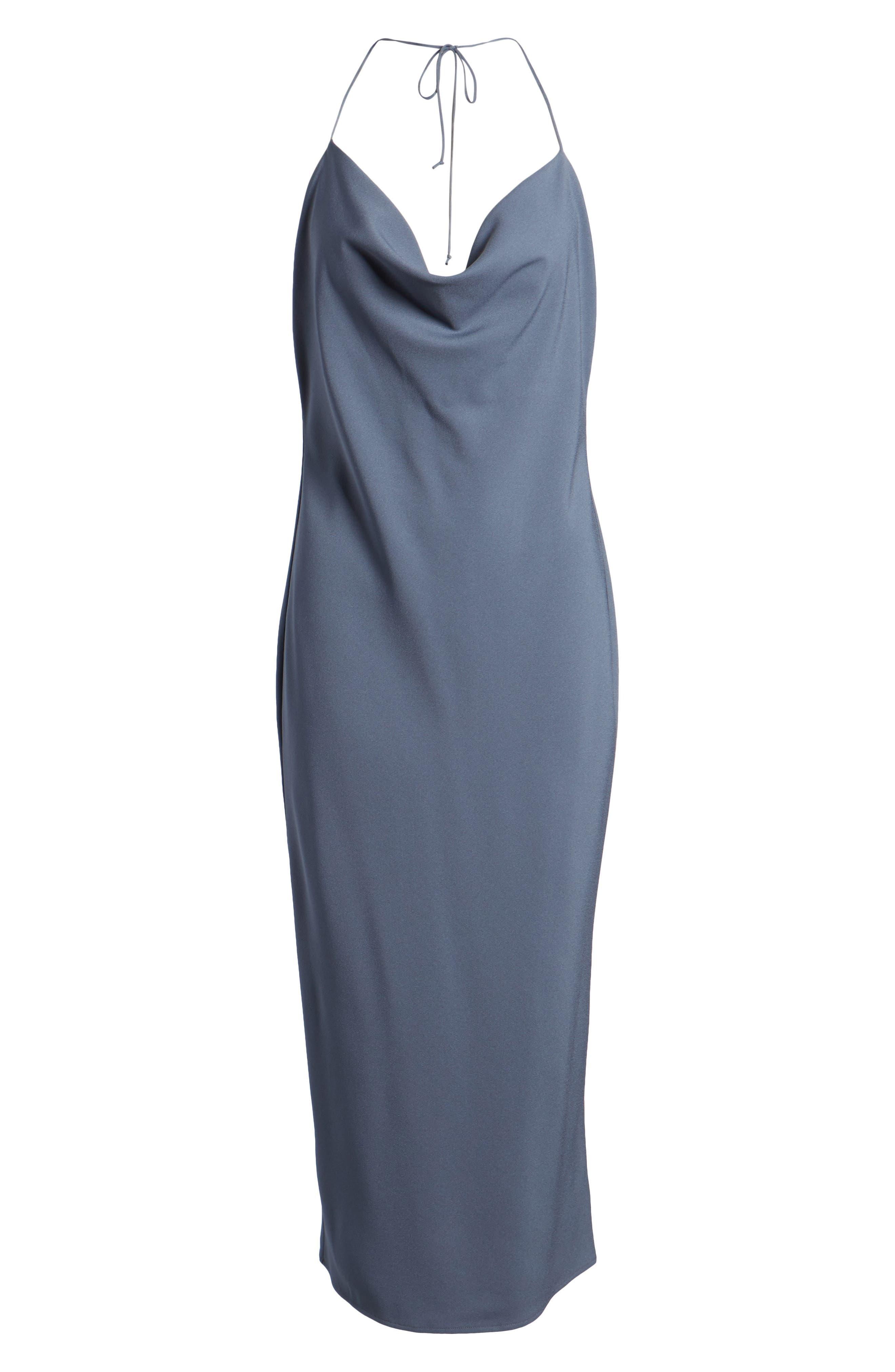 Cowl Neck Midi Dress,                             Alternate thumbnail 6, color,                             Grey Grisaille