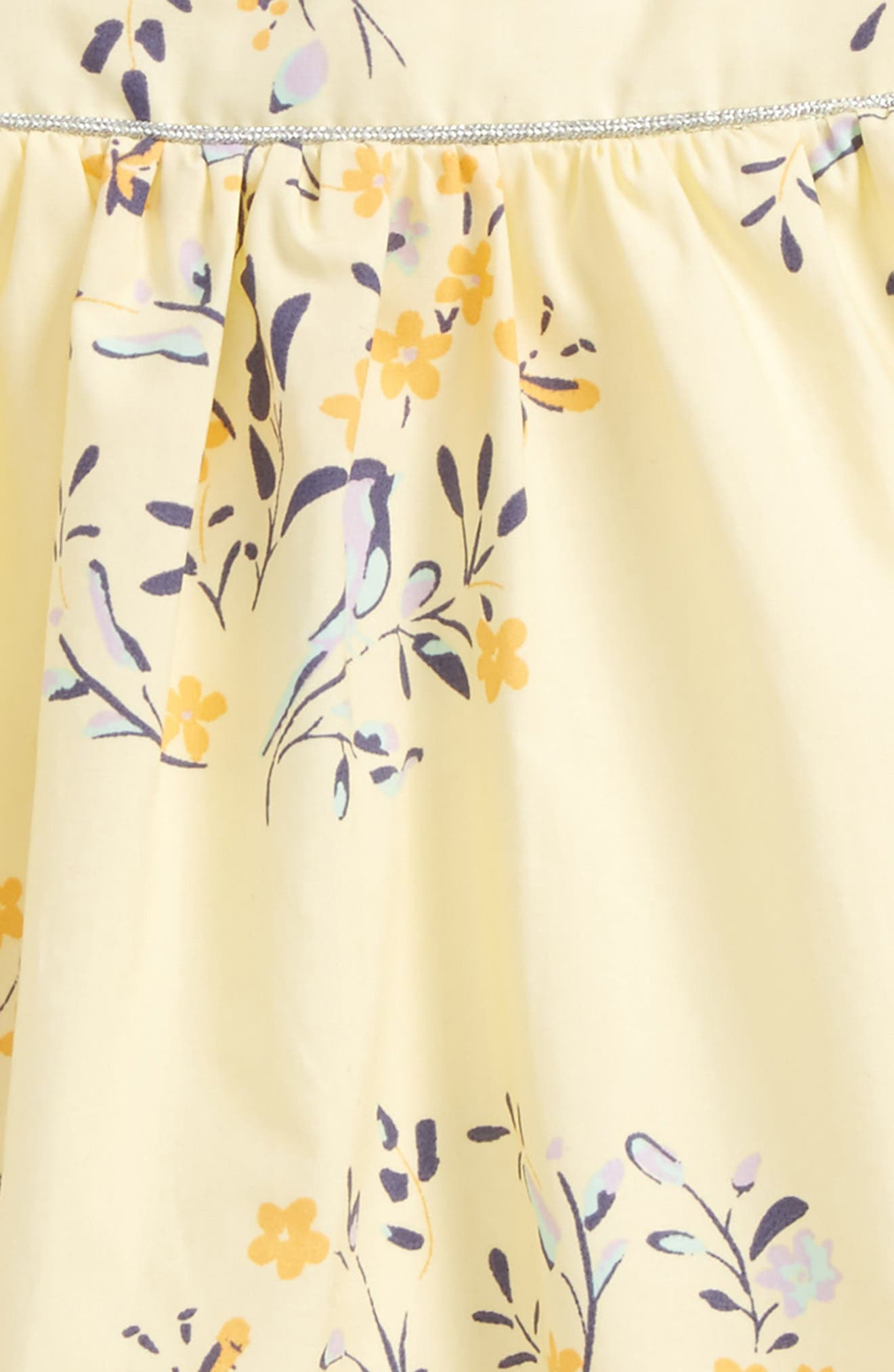 Print Sundress,                             Alternate thumbnail 3, color,                             Yellow Soft Floral Birds