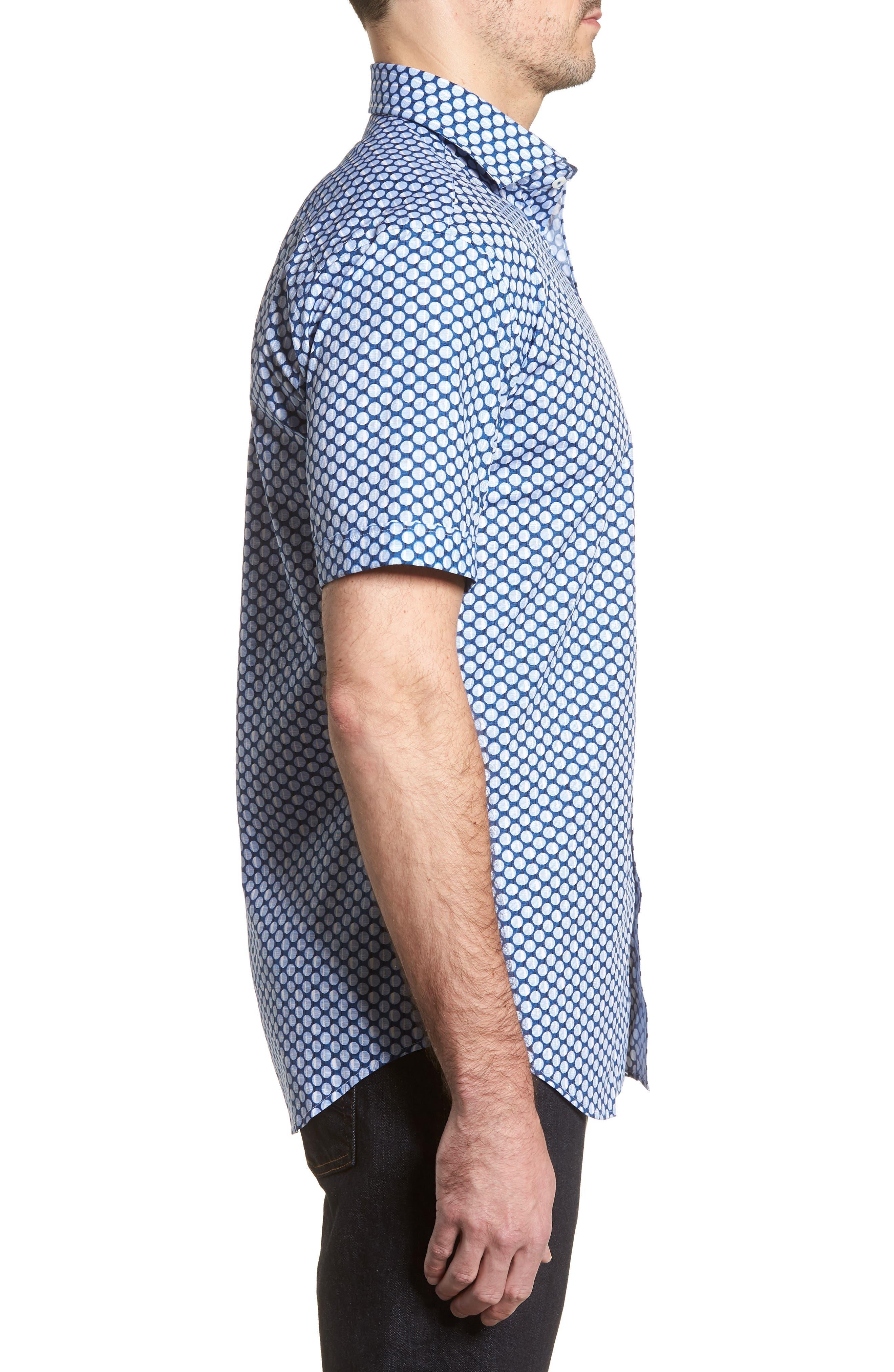 Shaped Fit Polka Dot Sport Shirt,                             Alternate thumbnail 3, color,                             Classic Blue