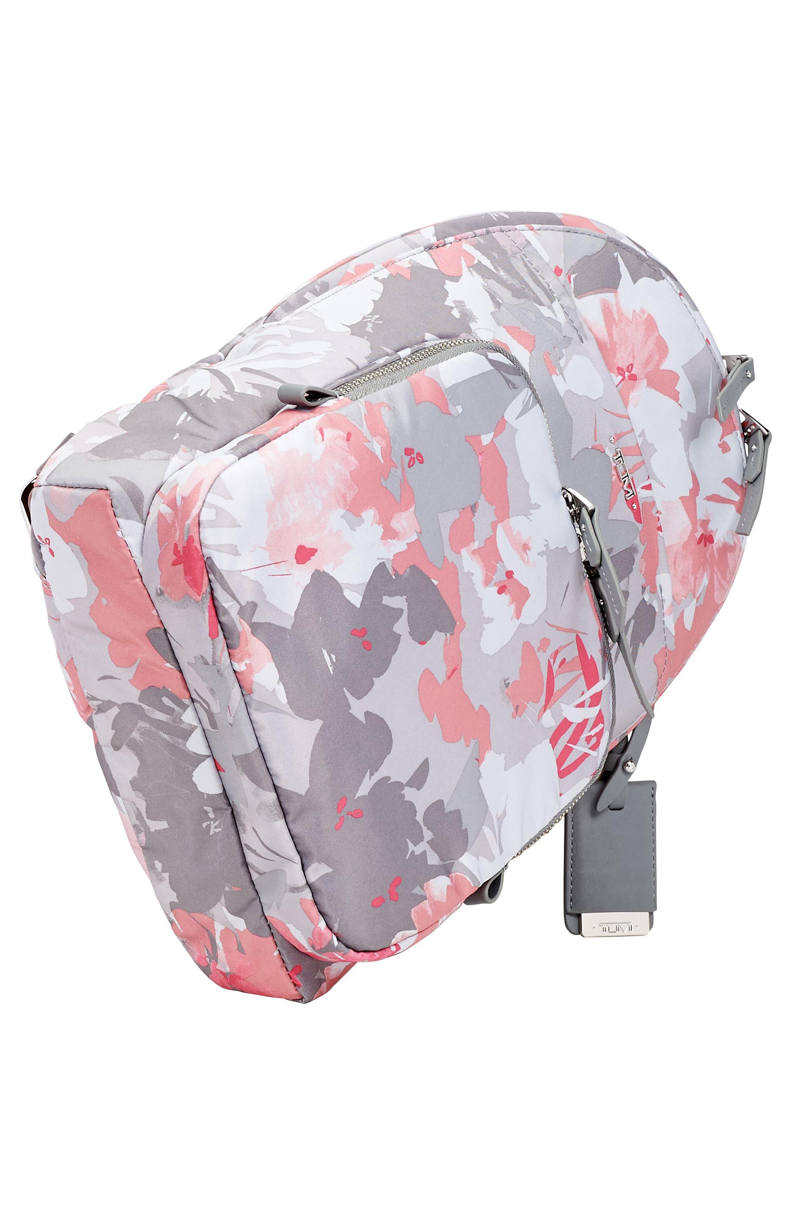 Nadia Convertible Backpack,                             Alternate thumbnail 4, color,                             Grey Floral Print