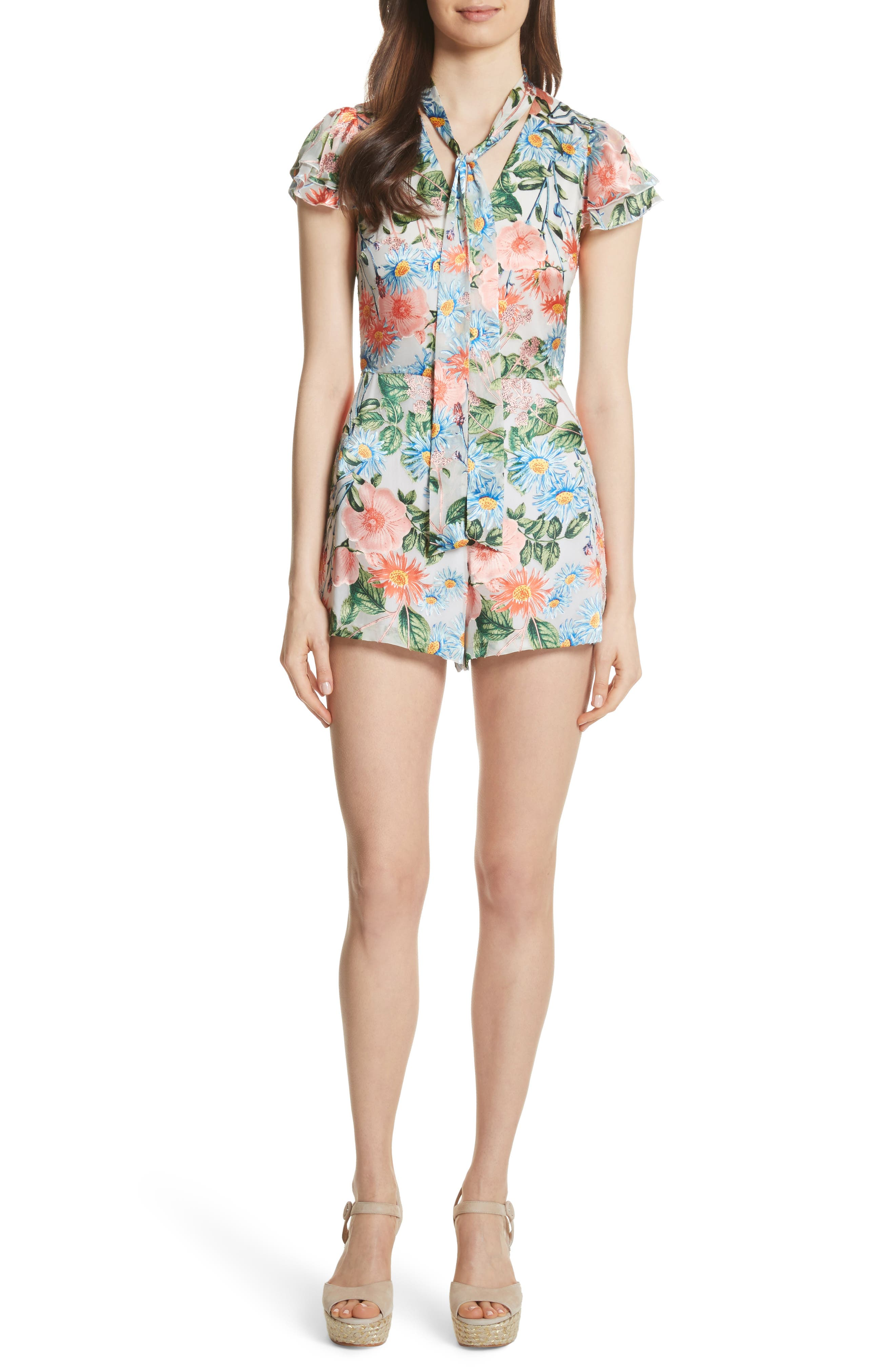 Macall Floral Ruffle Sleeve Romper,                         Main,                         color, Floral Fields