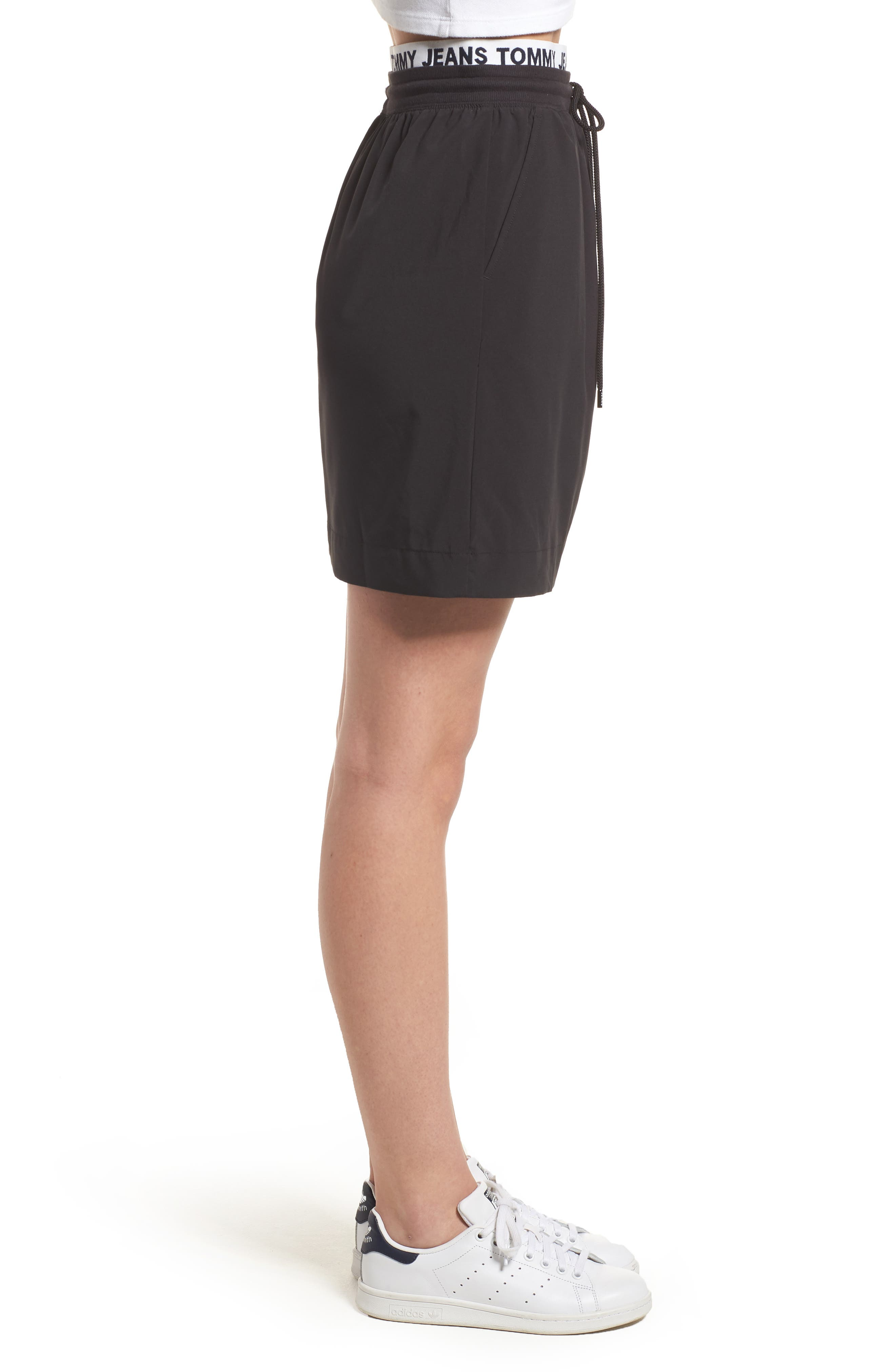 Logo Waistband Skirt,                             Alternate thumbnail 3, color,                             Tommy Black