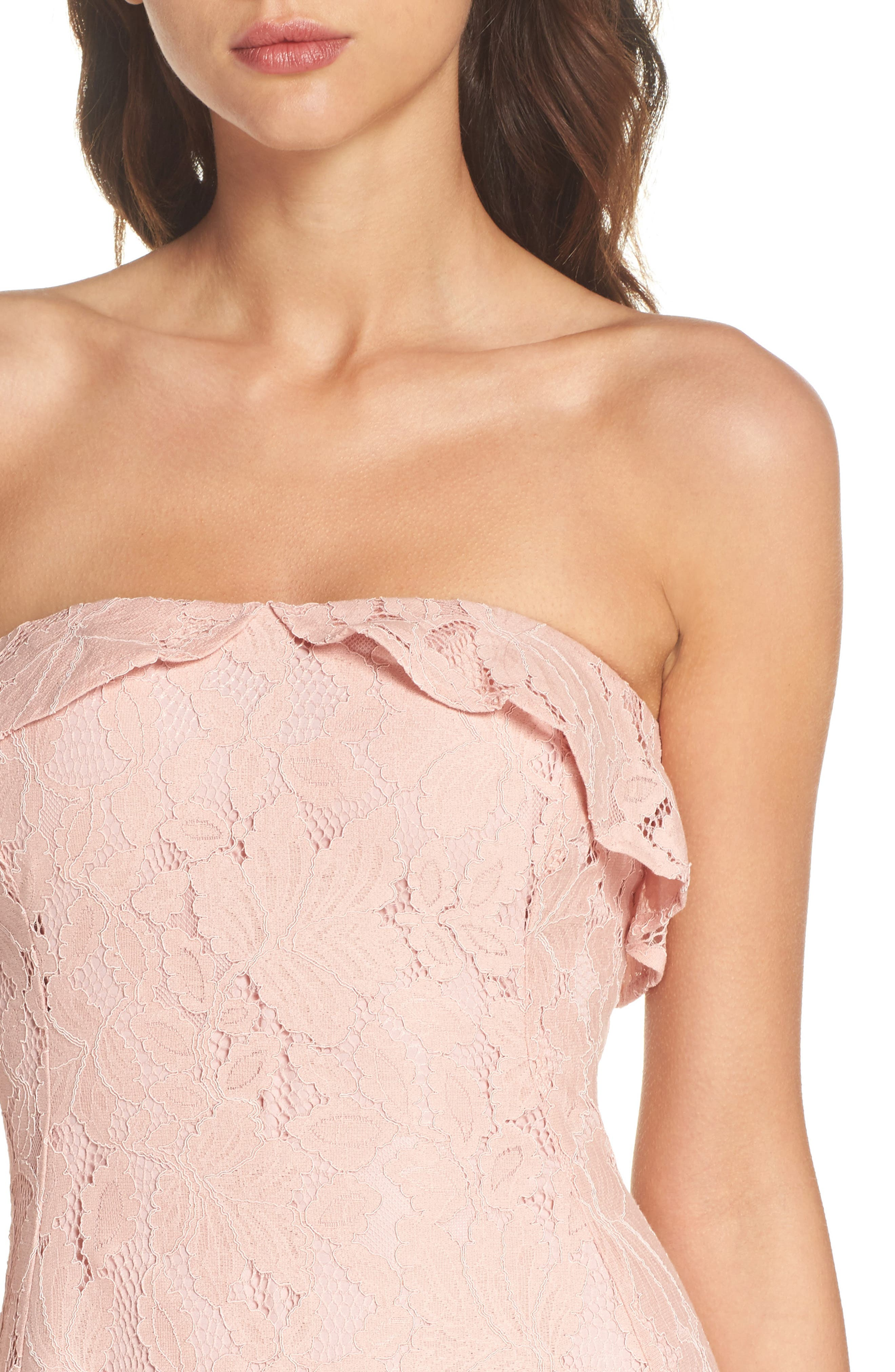 Strapless Lace High/Low Dress,                             Alternate thumbnail 4, color,                             Peach