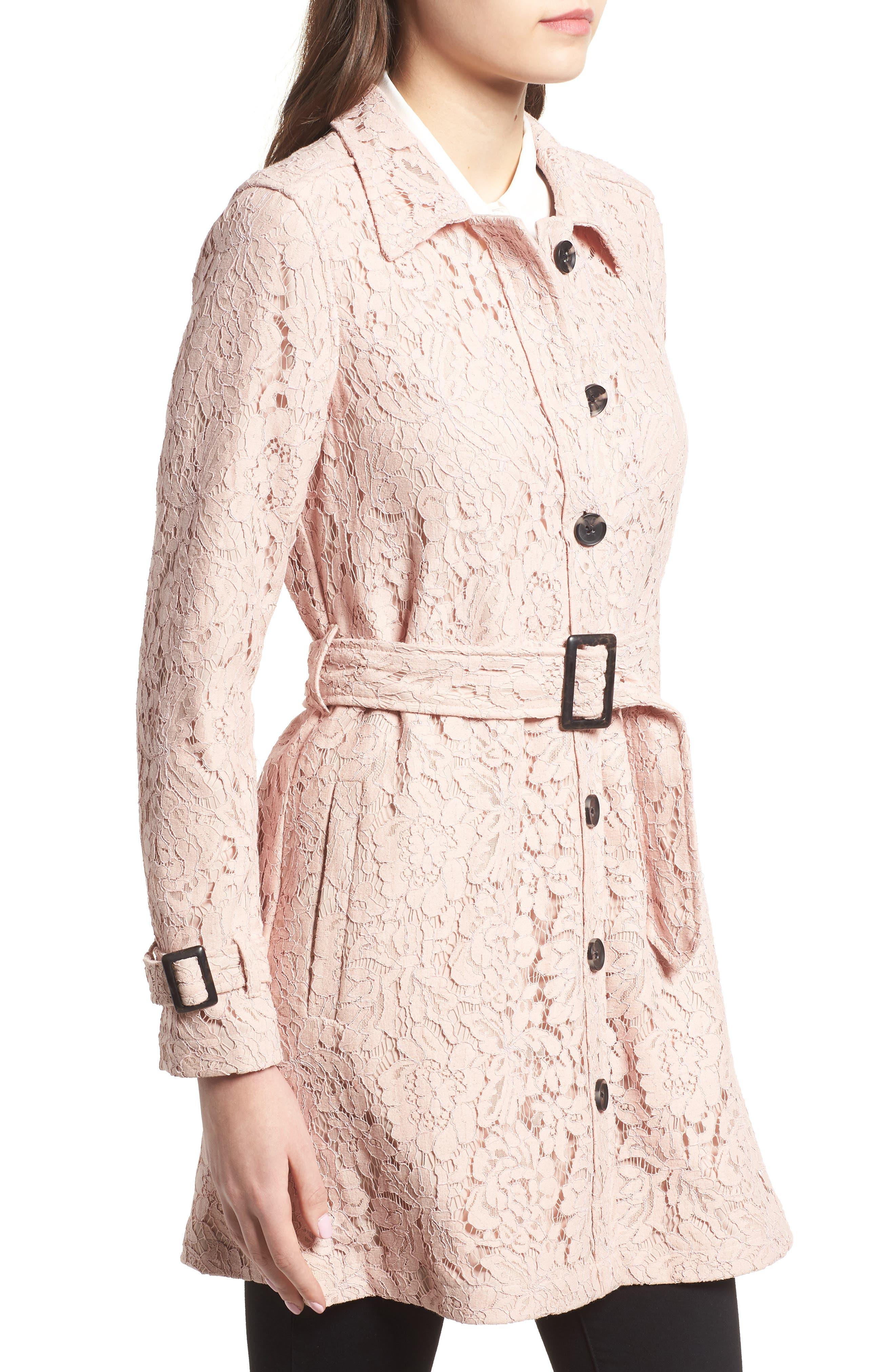 Auretta Lace Trench Coat,                             Alternate thumbnail 3, color,                             Pale Pink