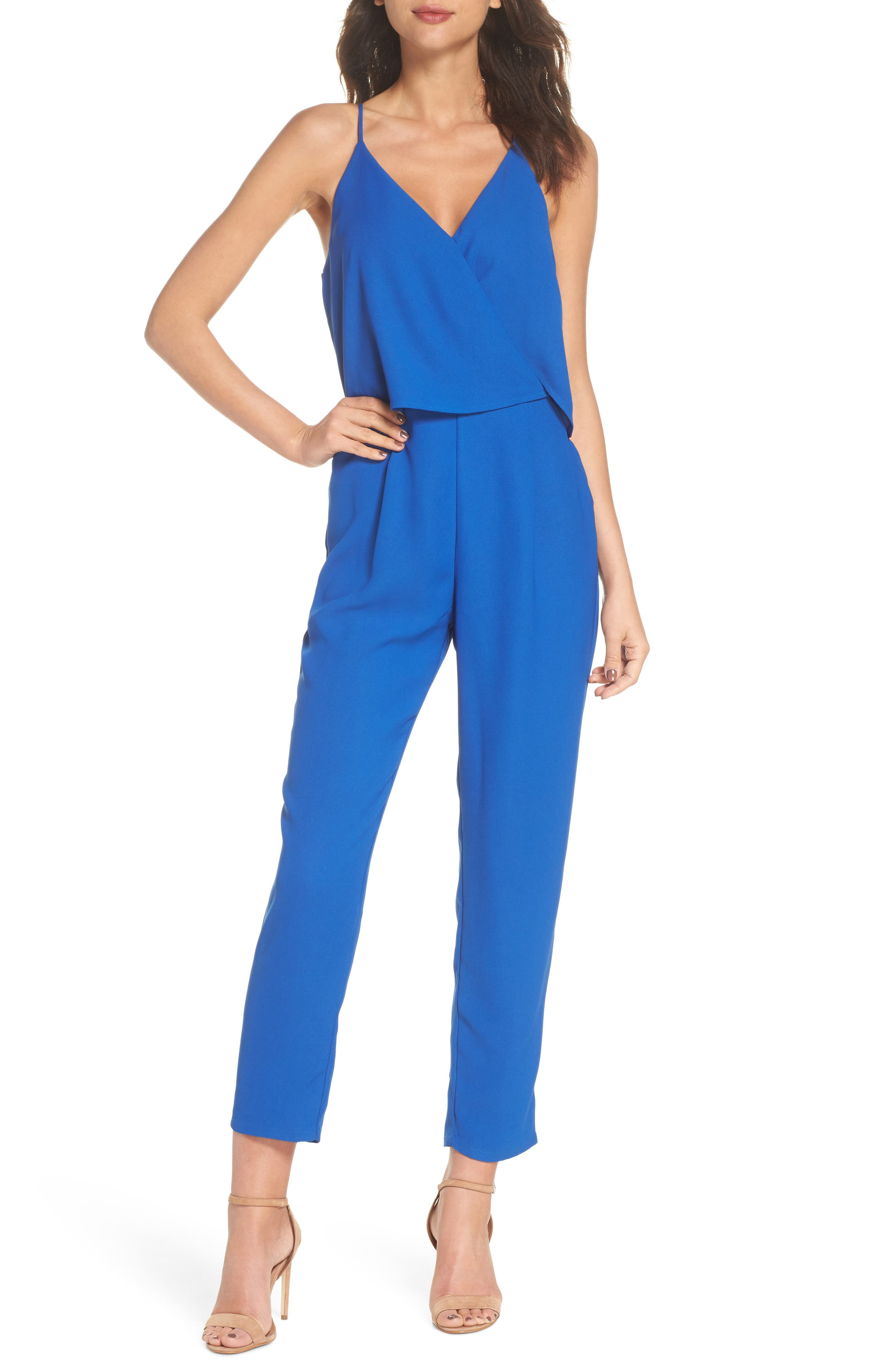 Deep V-Neck Sleeveless Jumpsuit,                         Main,                         color, Cobalt
