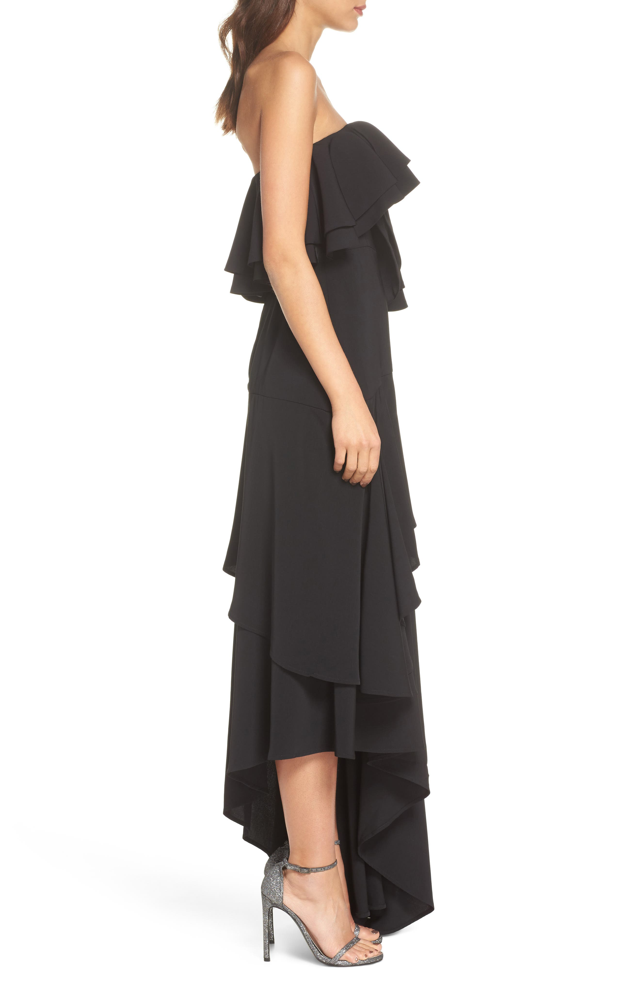 With You Strapless Asymmetric Gown,                             Alternate thumbnail 4, color,                             Black