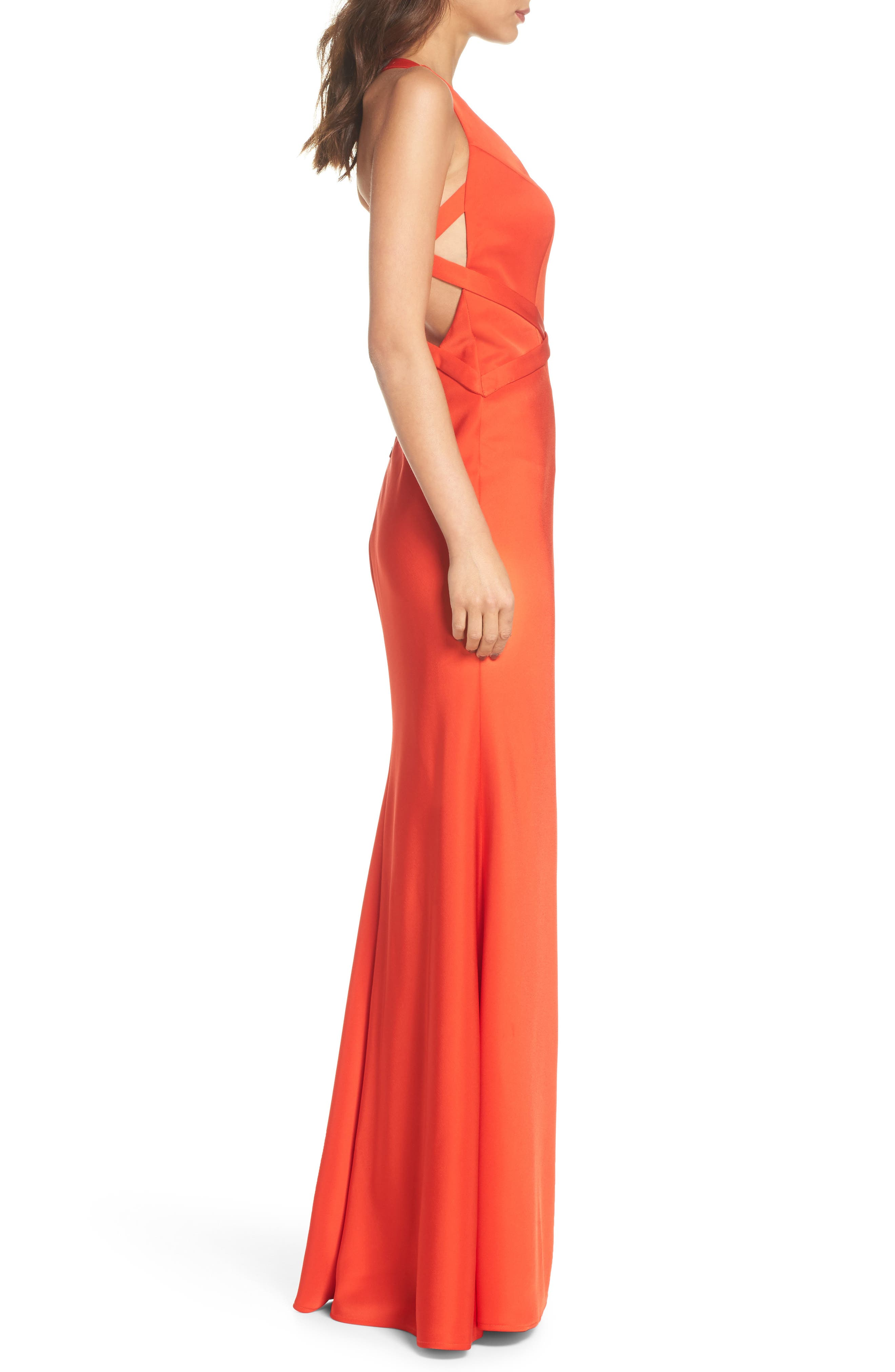 Plunge Neck Satin Gown,                             Alternate thumbnail 3, color,                             Poppy Red