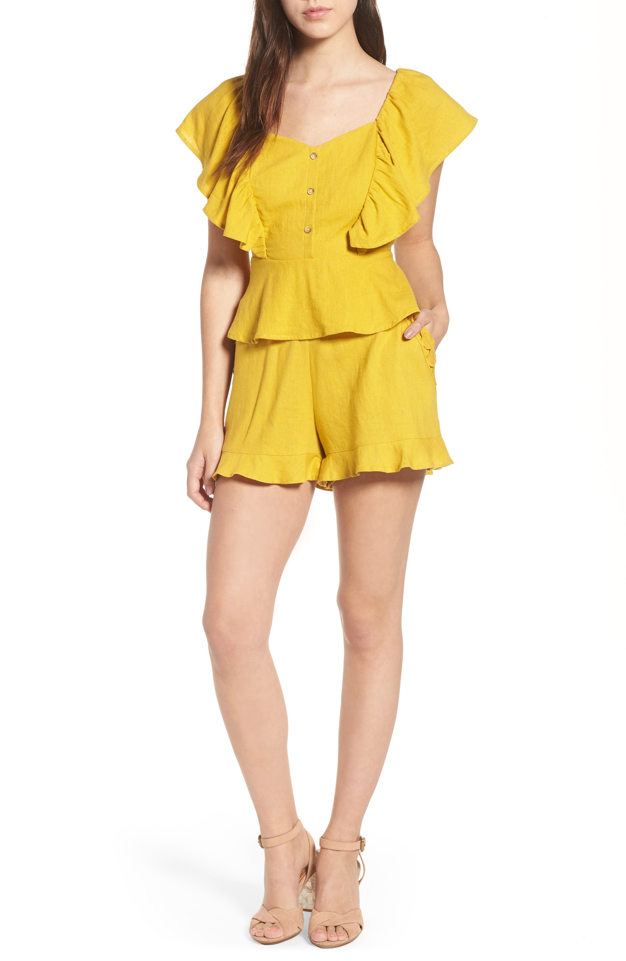 High Rise Ruffle Shorts,                             Alternate thumbnail 7, color,                             Mustard