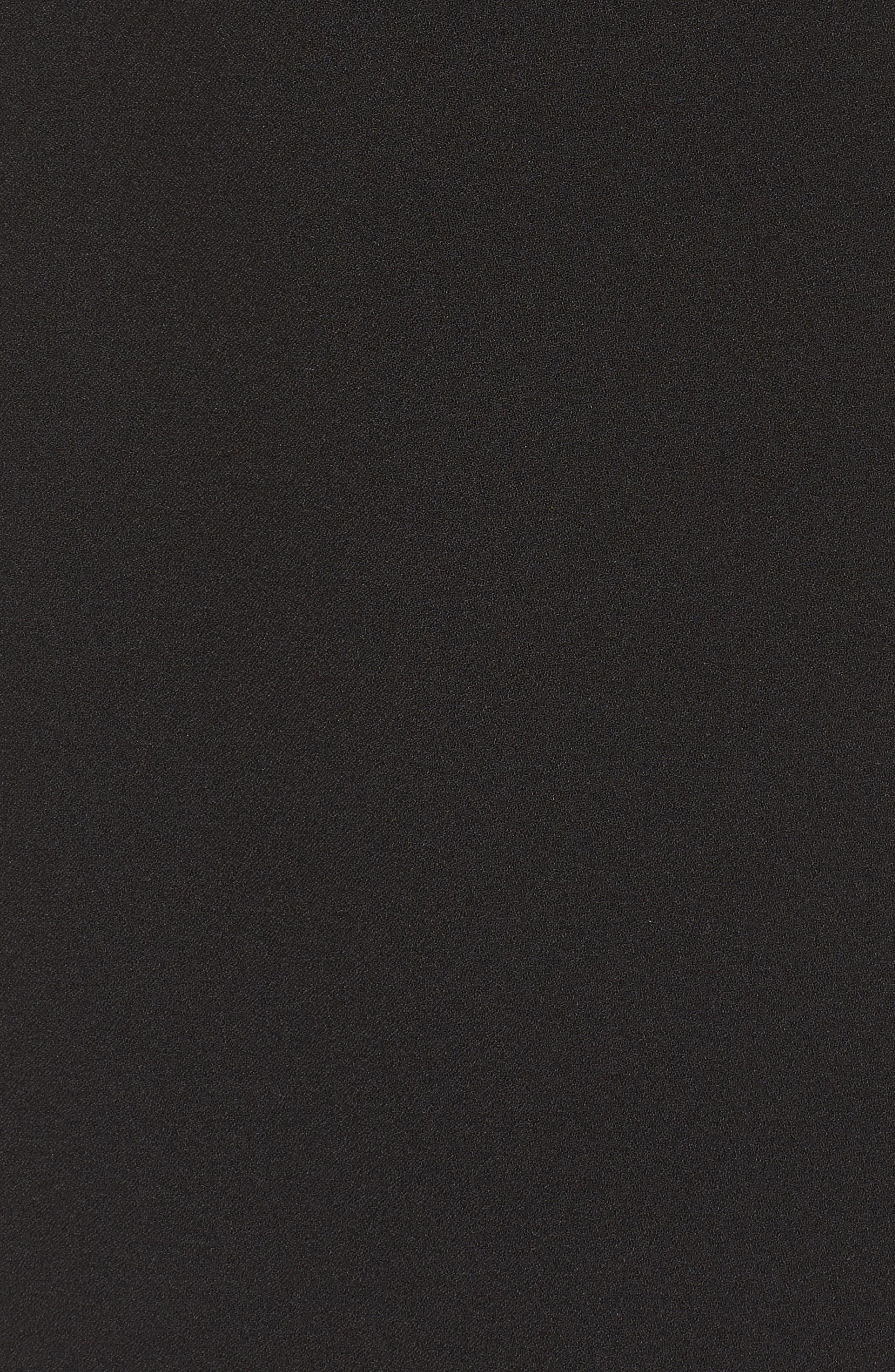 Ruffle Shoulder Crepe Shift Dress,                             Alternate thumbnail 5, color,                             Black