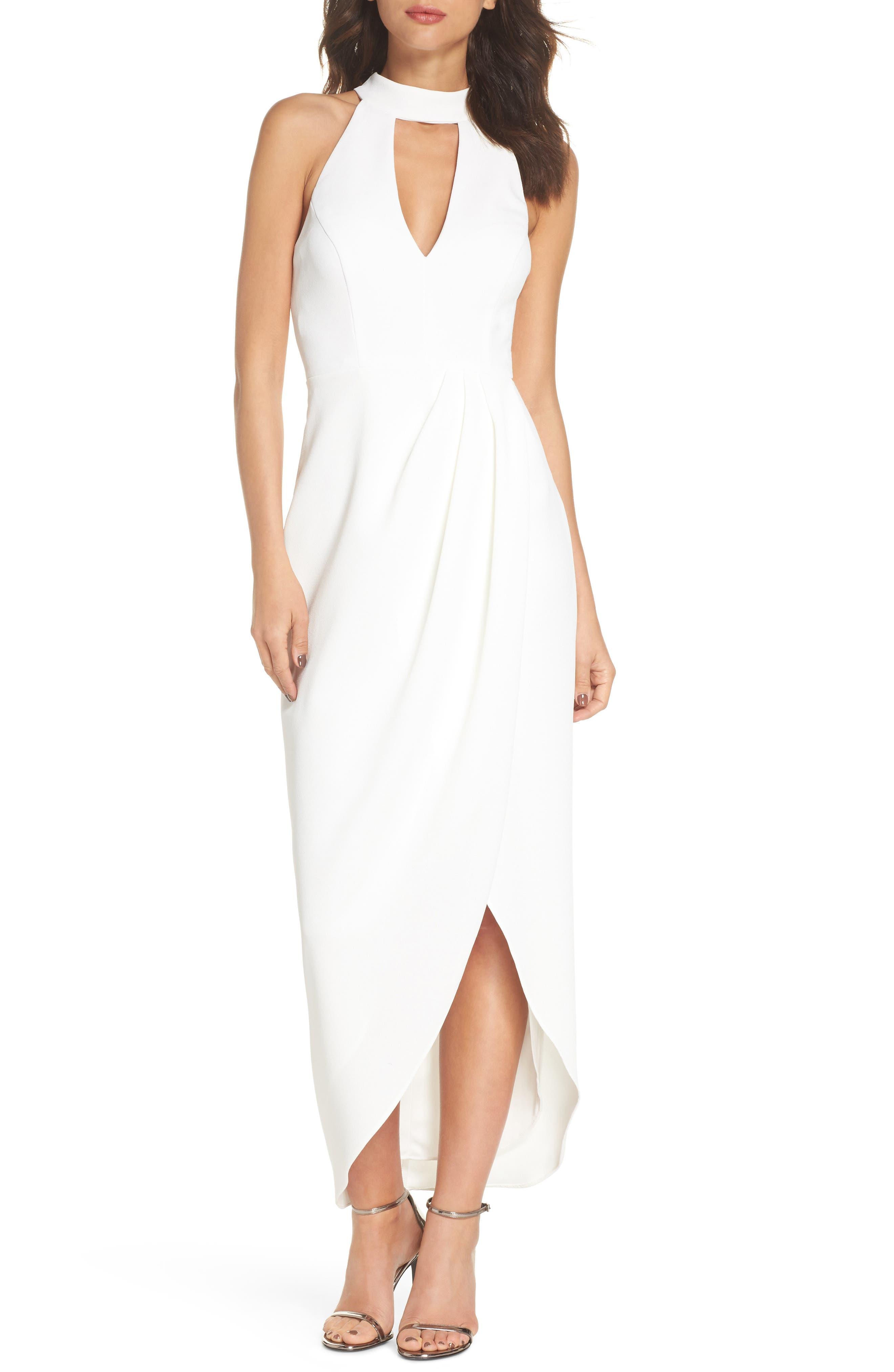 Xscape Choker Halter Dress (Regular & Petite)