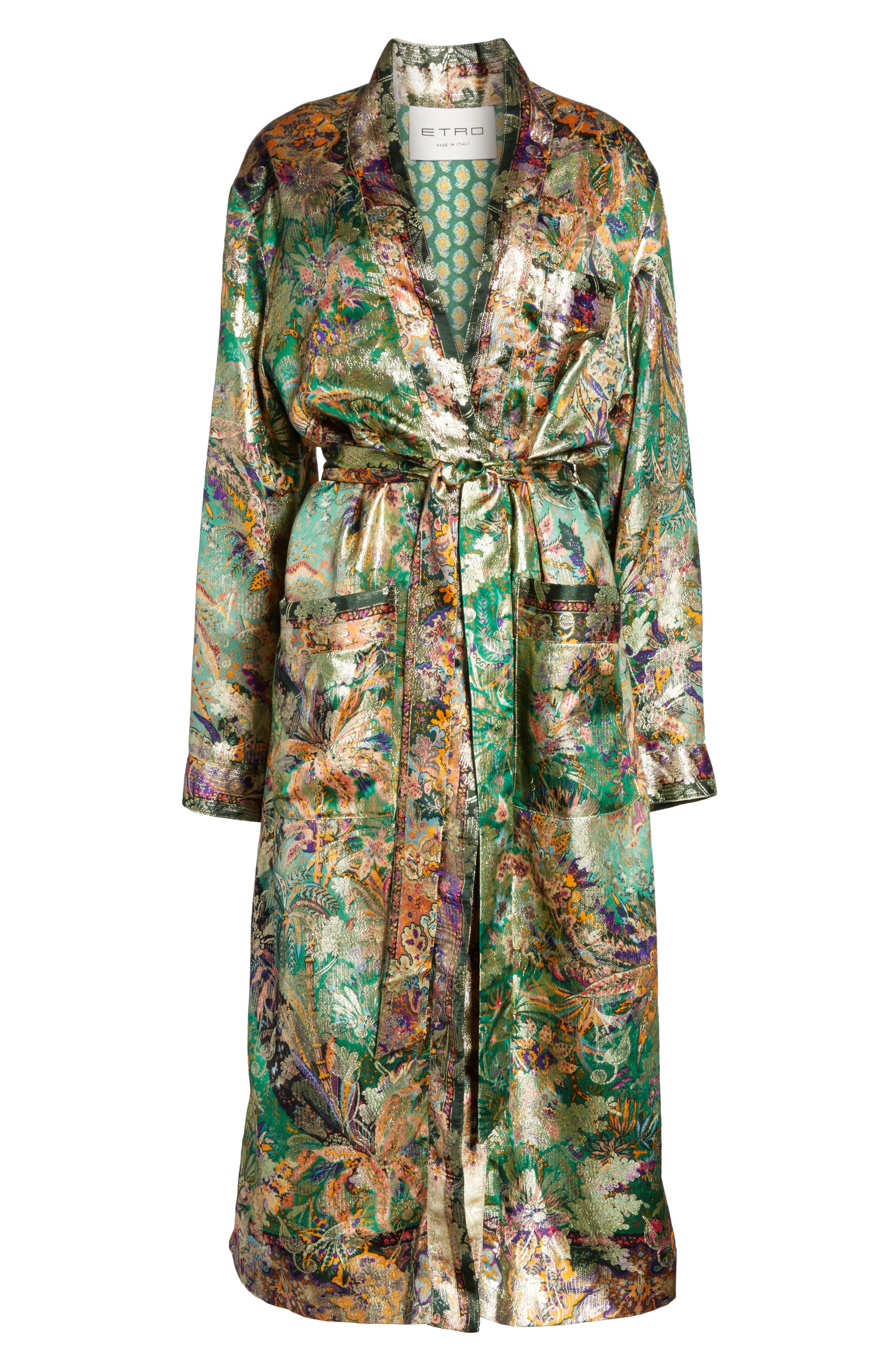 Alternate Image 6  - Etro Tie Waist Silk Blend Metallic Jacquard Jacket