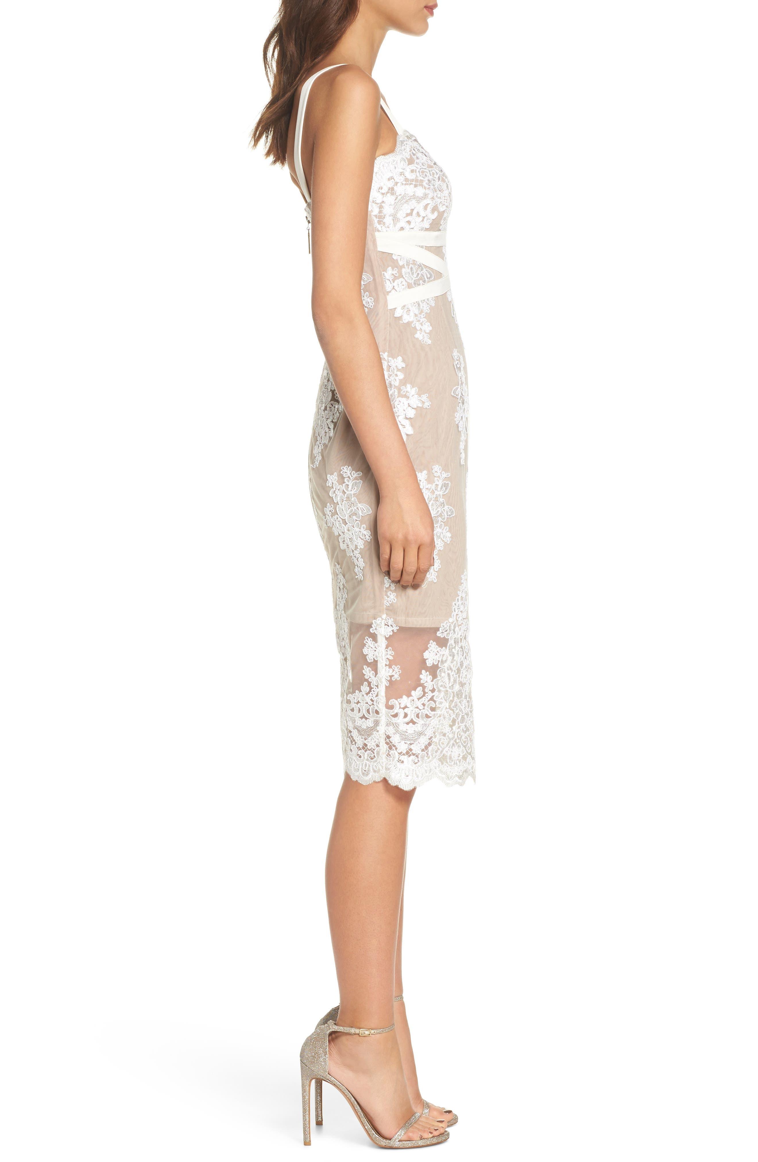 Camilla Lace Sheath Dress,                             Alternate thumbnail 3, color,                             White