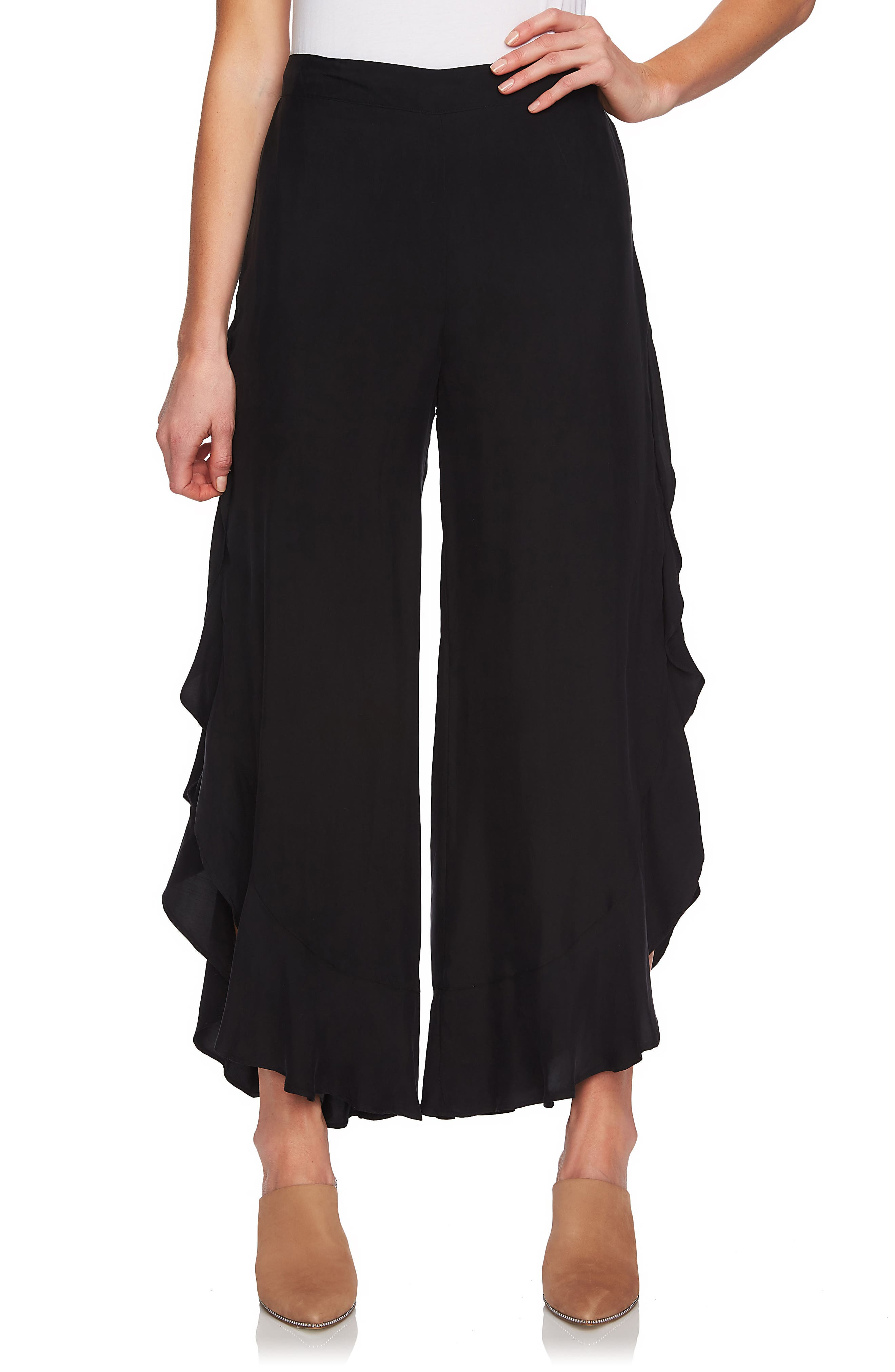 Ruffle Wide Leg Pants,                             Main thumbnail 1, color,                             Rich Black