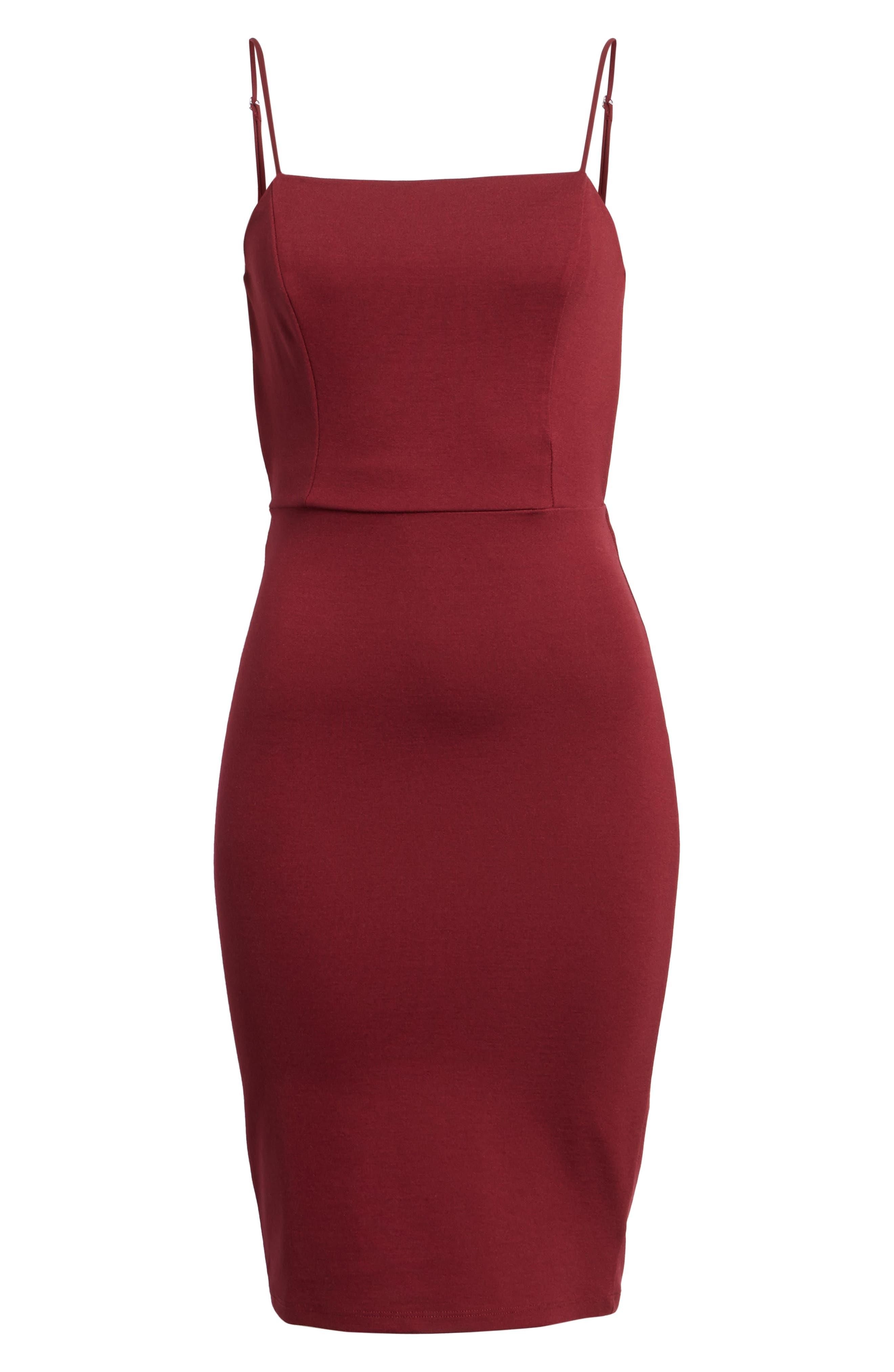 Open Back Body-Con Dress,                             Alternate thumbnail 6, color,                             Wine
